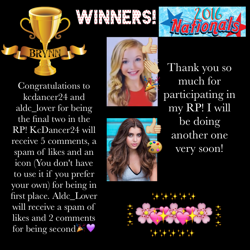 🌸 Kcdancer24 is the winner 🌸 well done both of you!