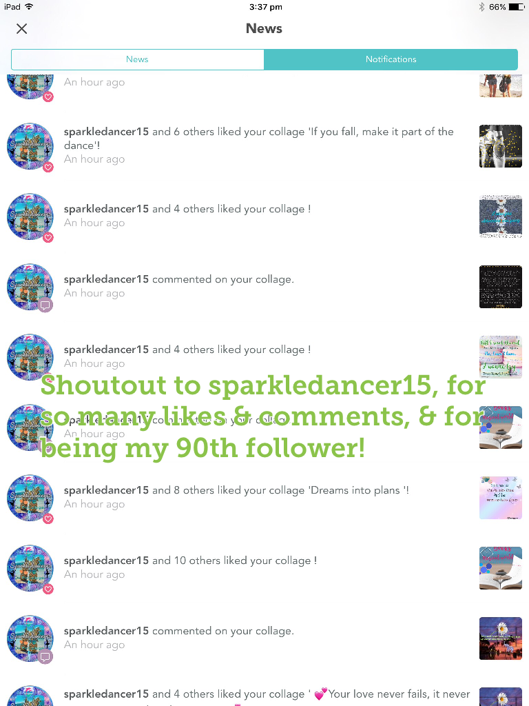 Shoutout to sparkledancer15, for so many likes & comments, & for being my 90th follower!