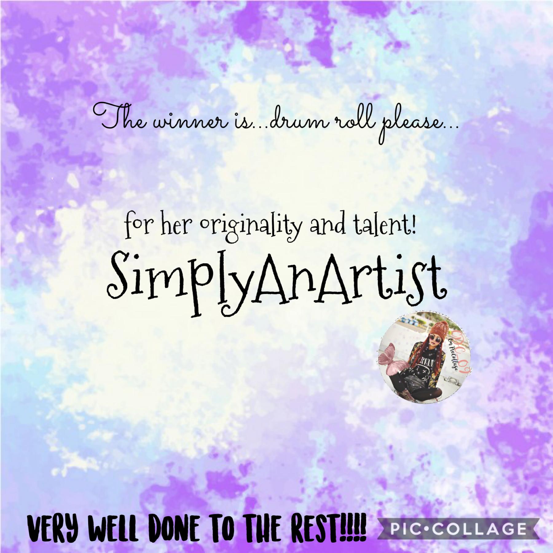 Congratulations SimplyAnArtist!
