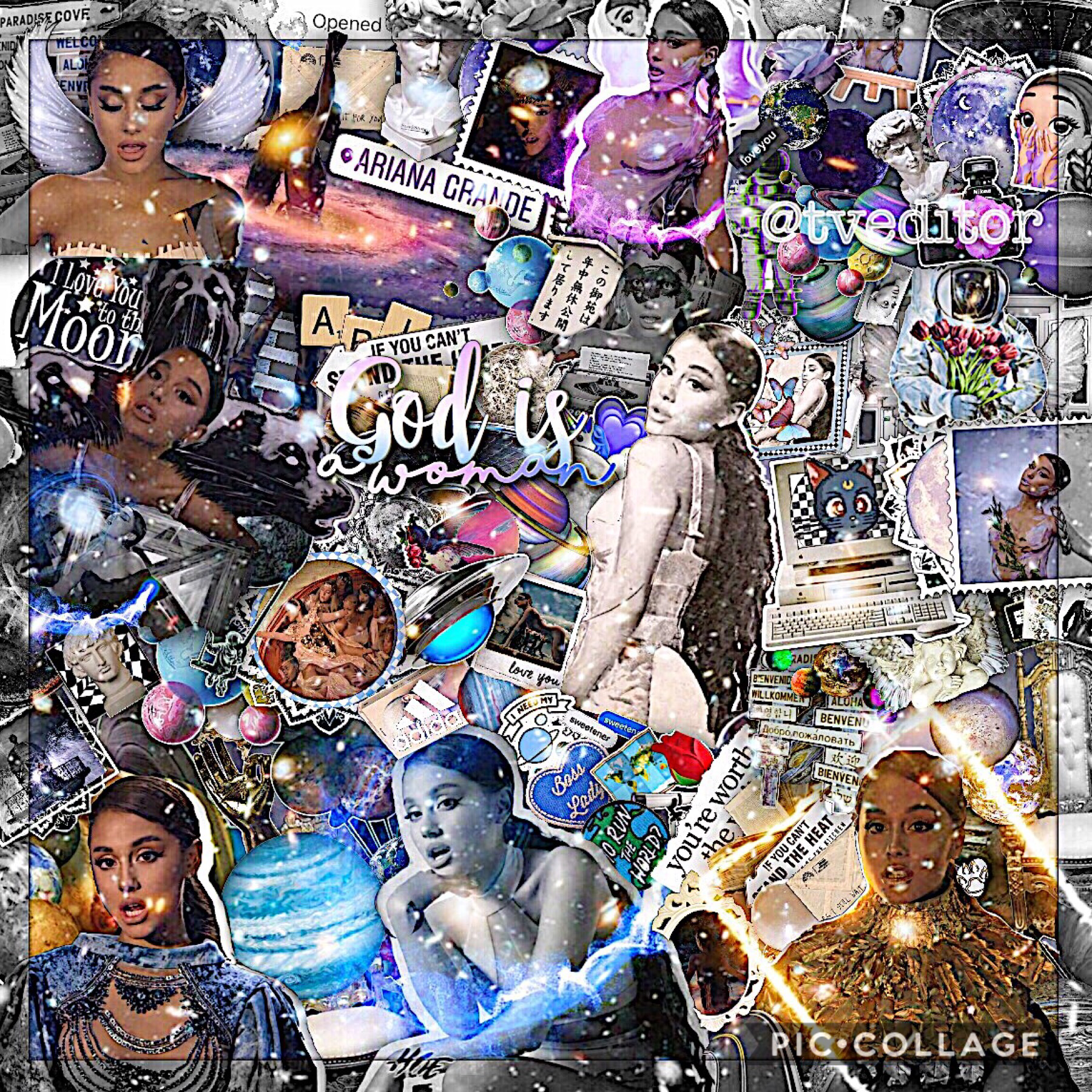 god is a woman 💙 I love this edit sm ( I made this for a entry on this contest on ig ) I love the sweetener album sm 💕💕 I don't wanna go to school tomorrow I hate it bye