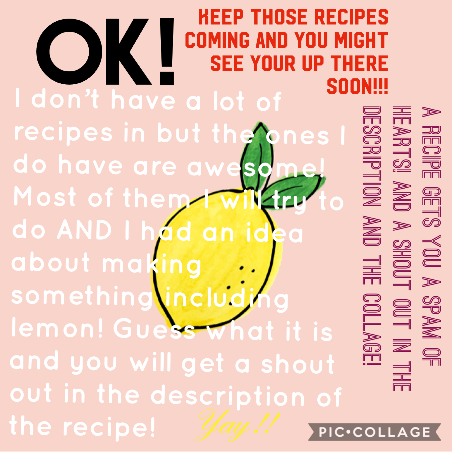 Please please please give me some recipes! Thank you so much to the people who already have! And it works best when it's a remix! :D