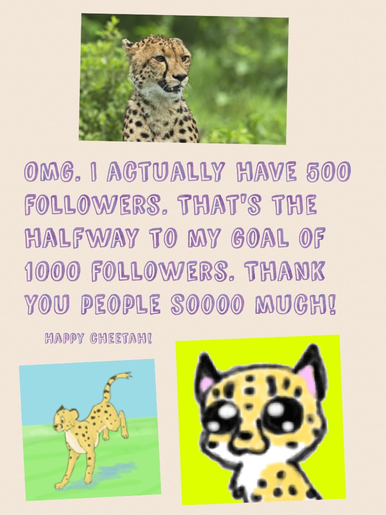 Omg. I actually have 500 followers. That's the halfway to my goal of 1000 followers. Thank you people soooo much!