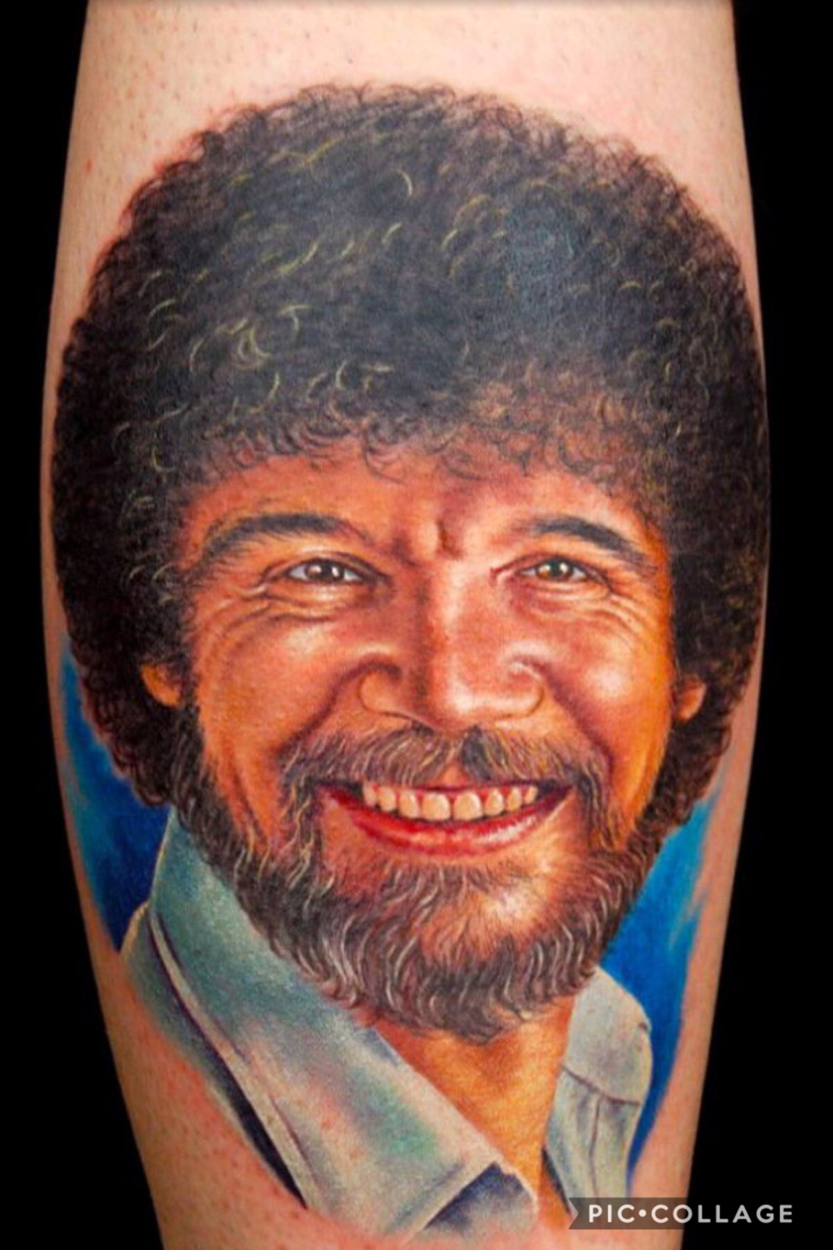 This isn't a collage... someone got a tattoo of Bob Ross! That's a true fan🌲