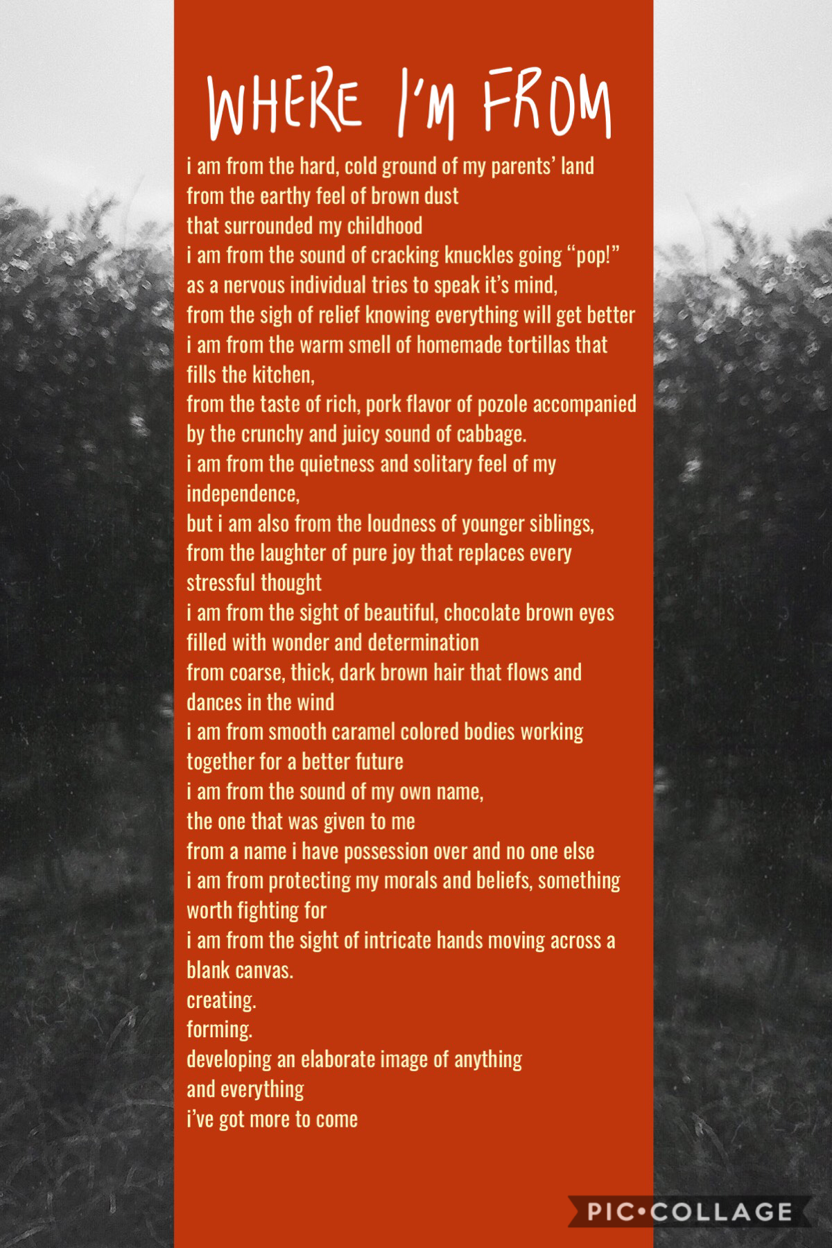 tap, my dudes this was a writing assignment for my college composition class. i tried to put some thought into it it's kind of a sensory poem  hope you learn some things about me