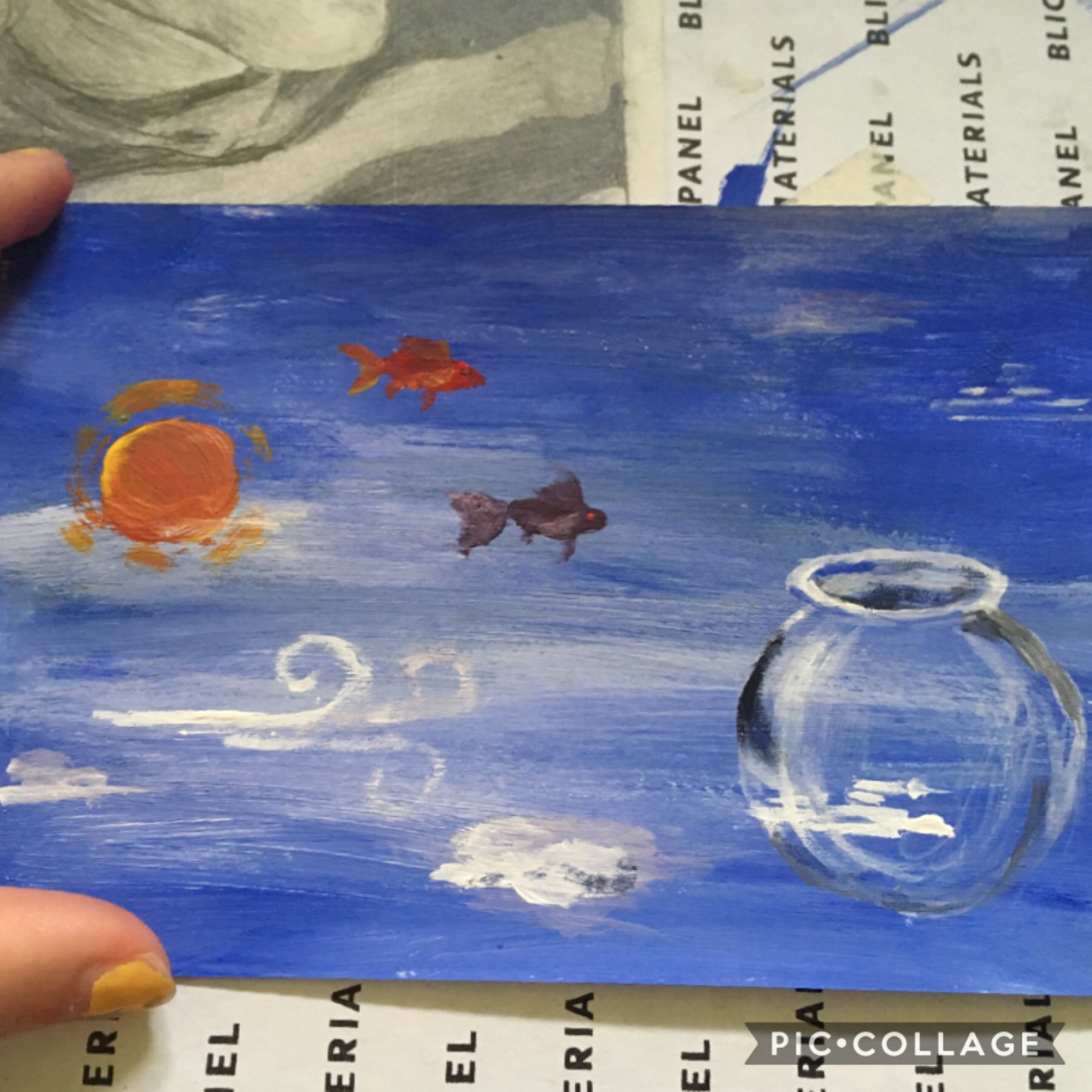 i've decided to try n do more art, even if it means silly thirty min paintings of sky fish