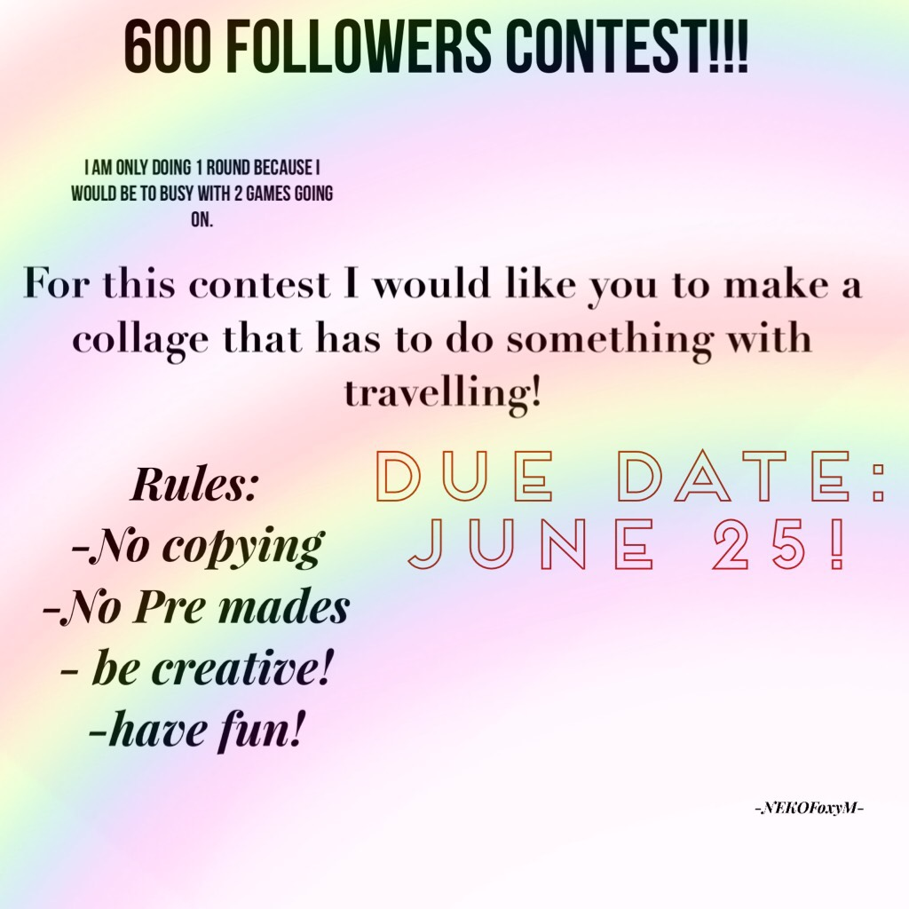 600 followers Contest!!!