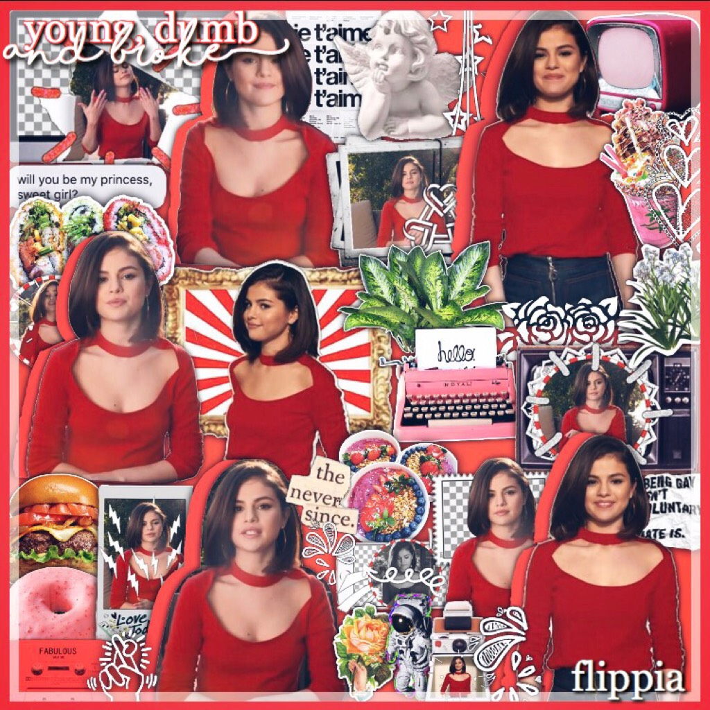 Selena + food + some plants = mediocre old collage by Ava!!