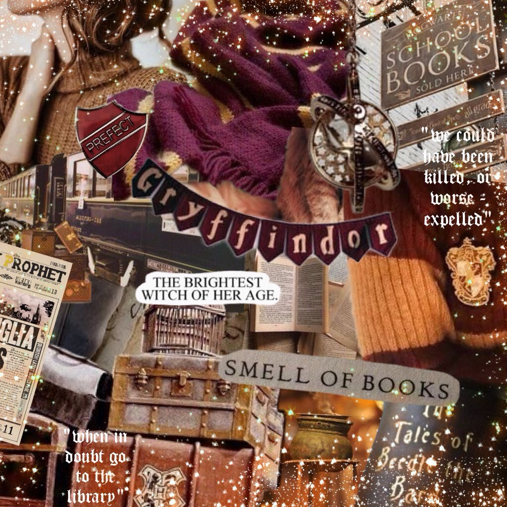 "✨ ""I'm going to bed before either of you come up with another clever idea to get us killed - or worse, expelled. ~ Hermione Granger (Philosopher's Stone) ✨A collage dedicated to my favourite character from Harry Potter and who is yours?⚡️❤️"