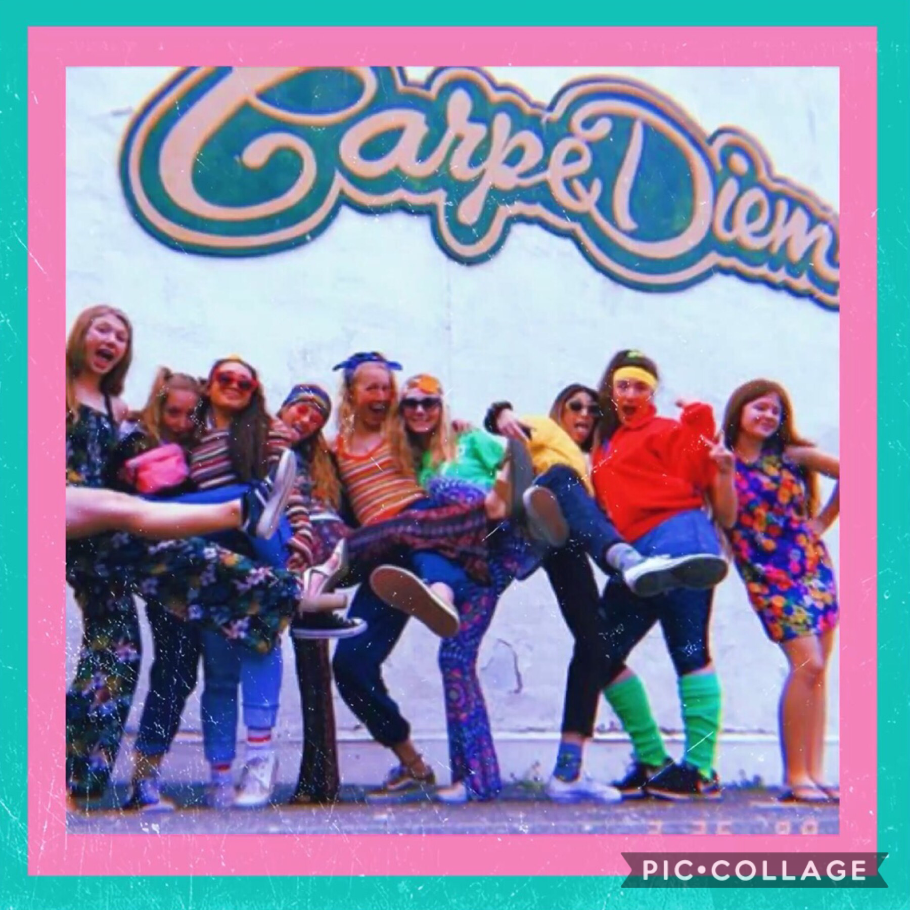 💖TAP💖 This pic was from a school spirit day recently, I'm the one in a dress on the right end. Q: Do you participate in school spirit days? A: A little obvious here....