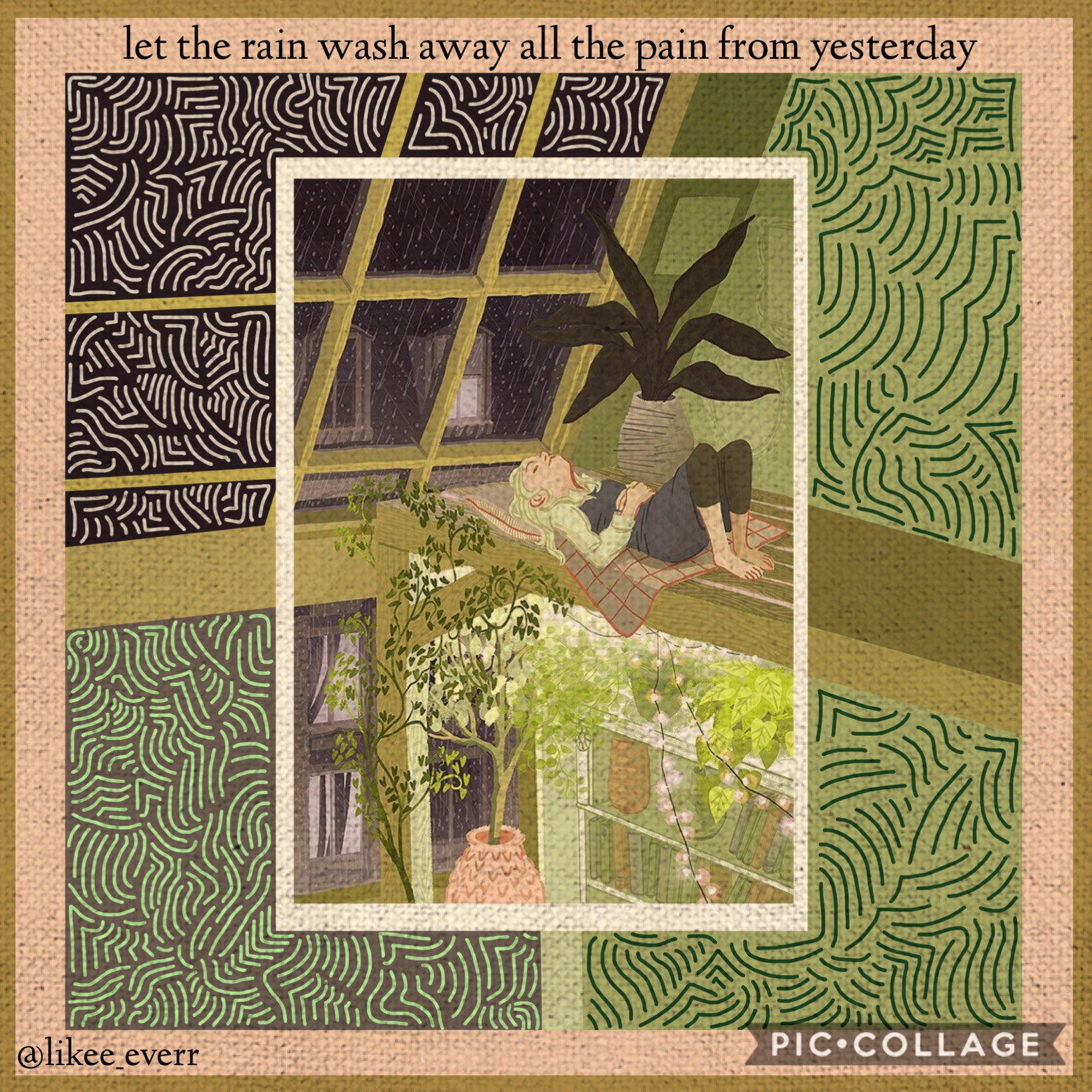 💚TAP💚 It's been raining a lot in CA this winter, and I LOVE rain. I live for rain. The drawing is not mine(from Pinterest) but the doodles and border+beyond is mine. Q: What's the weather like where you are? A: Rainy, with a little bit of snow once a week