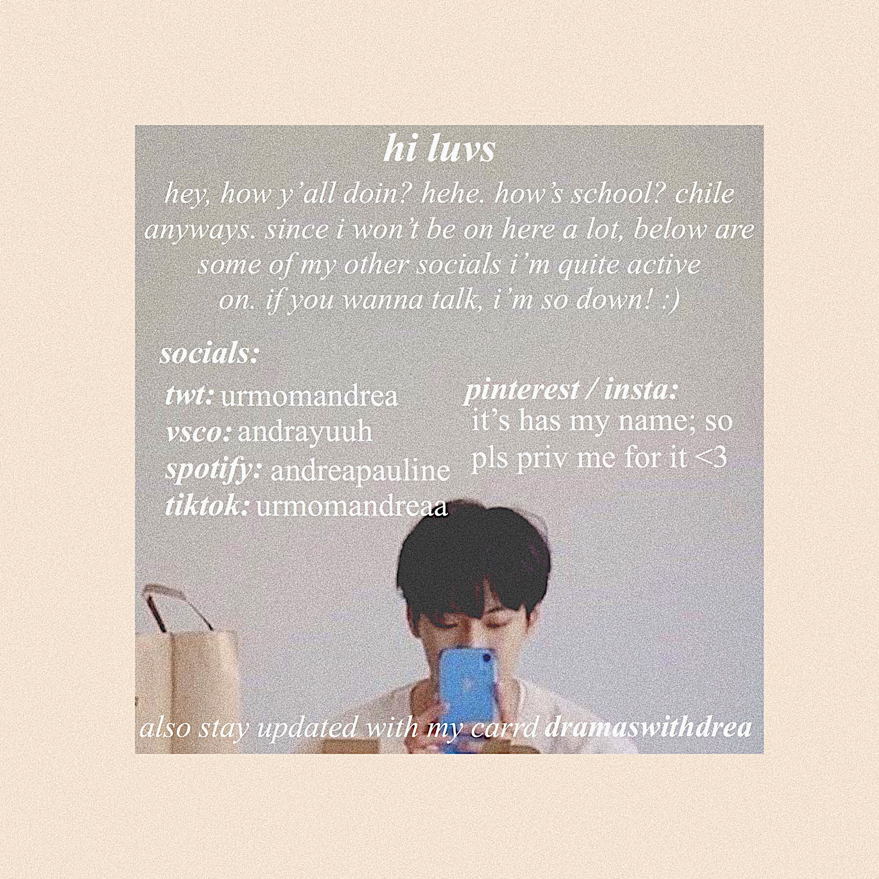 🧺 omg i finally got a twt :,) anwaysss, we can send each other random tik toks, twts, and how talk about how much life s ucks 😼 p.s my twt is just a stan acc. enjoy your day muah 💘!