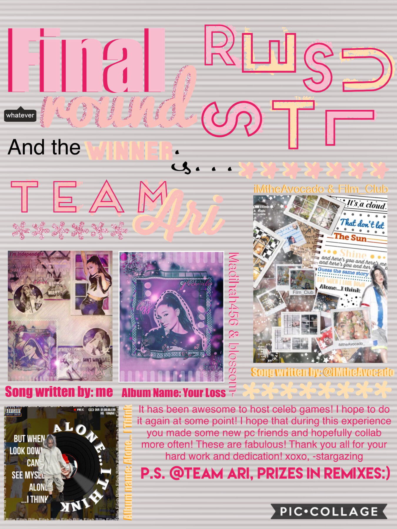🌸TAP🌸 Way to go team Ari!💗you made won 3 rounds!🤩🤯 prizes are in remixes🌈💞 @Team Billie: you did an amazing job!🌺 you made it so far and it was a very tough decision😅 you did great!👍