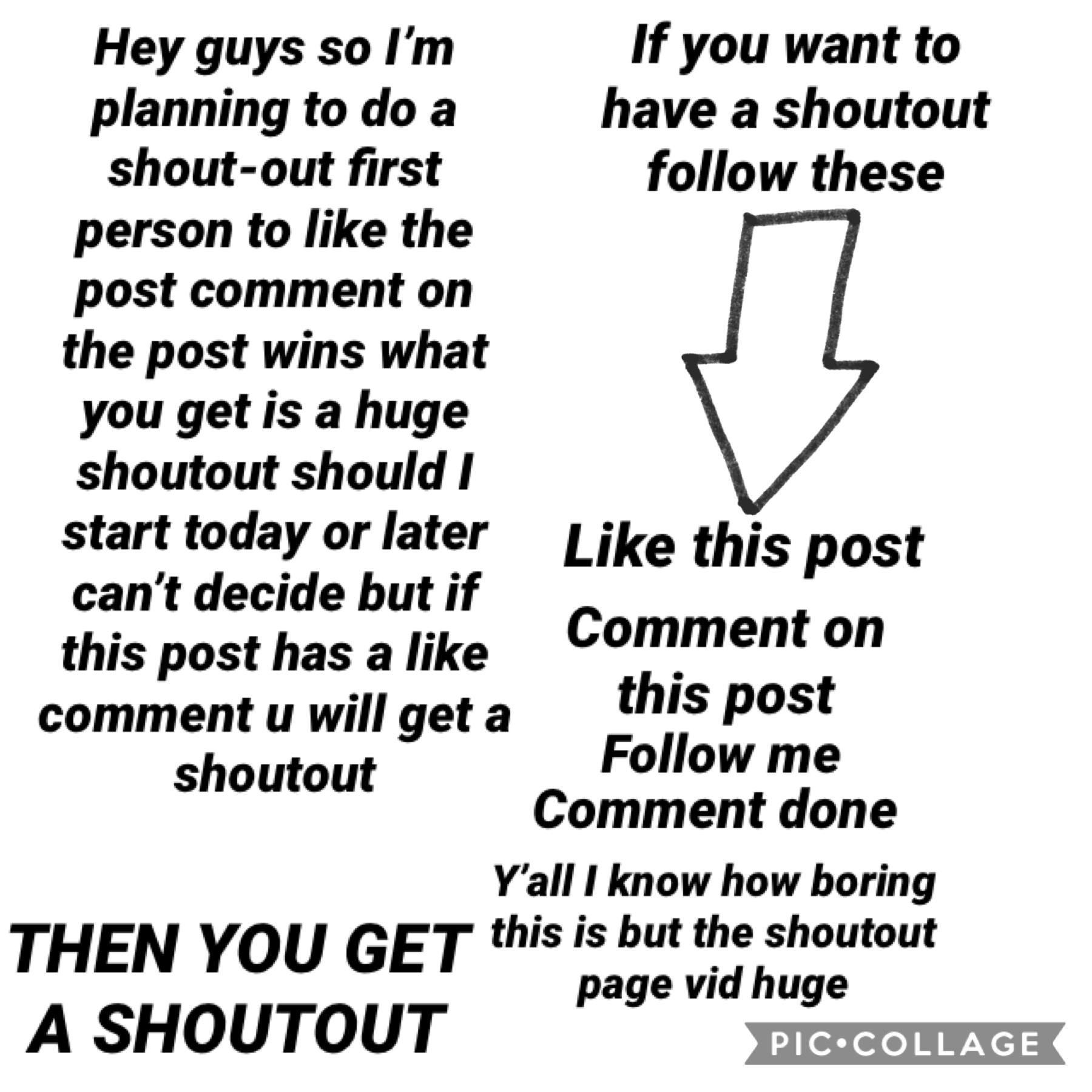 Read it carefully to get a shoutout any question comment and I will answer them ASAP