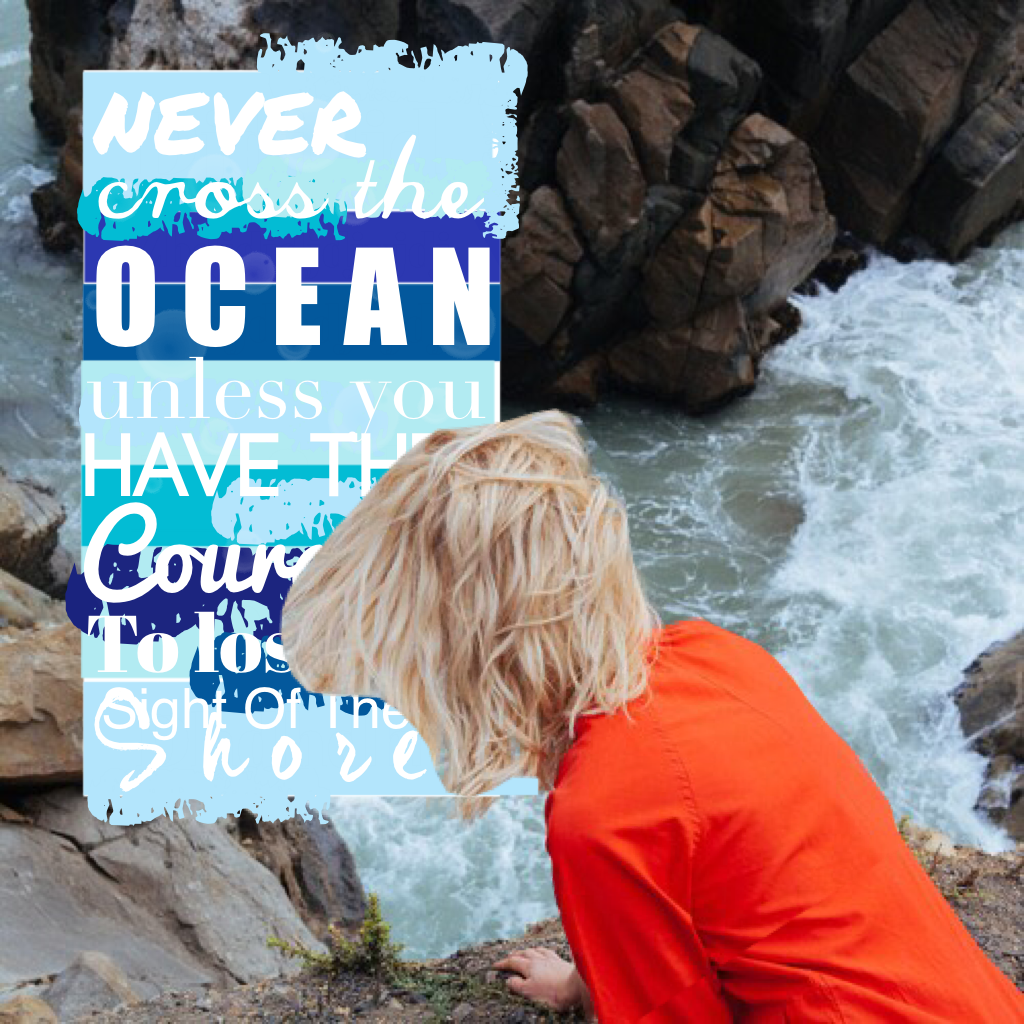 """""""never cross the ocean unless you have the courage to loose sight of the shore"""""""