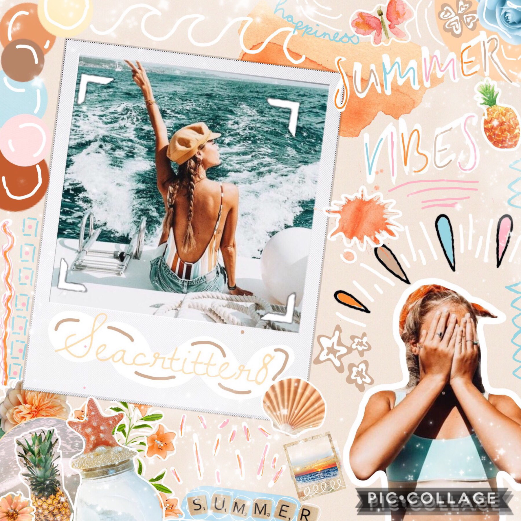 🍍TAP🍍 Woahhh this is a huge crowded mess!! I wanted to add different backgrounds but you can only have 50 scraps per collage:( Anyways the colours for this were inspired by both the girls swim suits! Hope you like it!💕