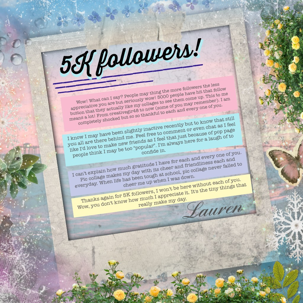 5K followers! 💗☺️✨