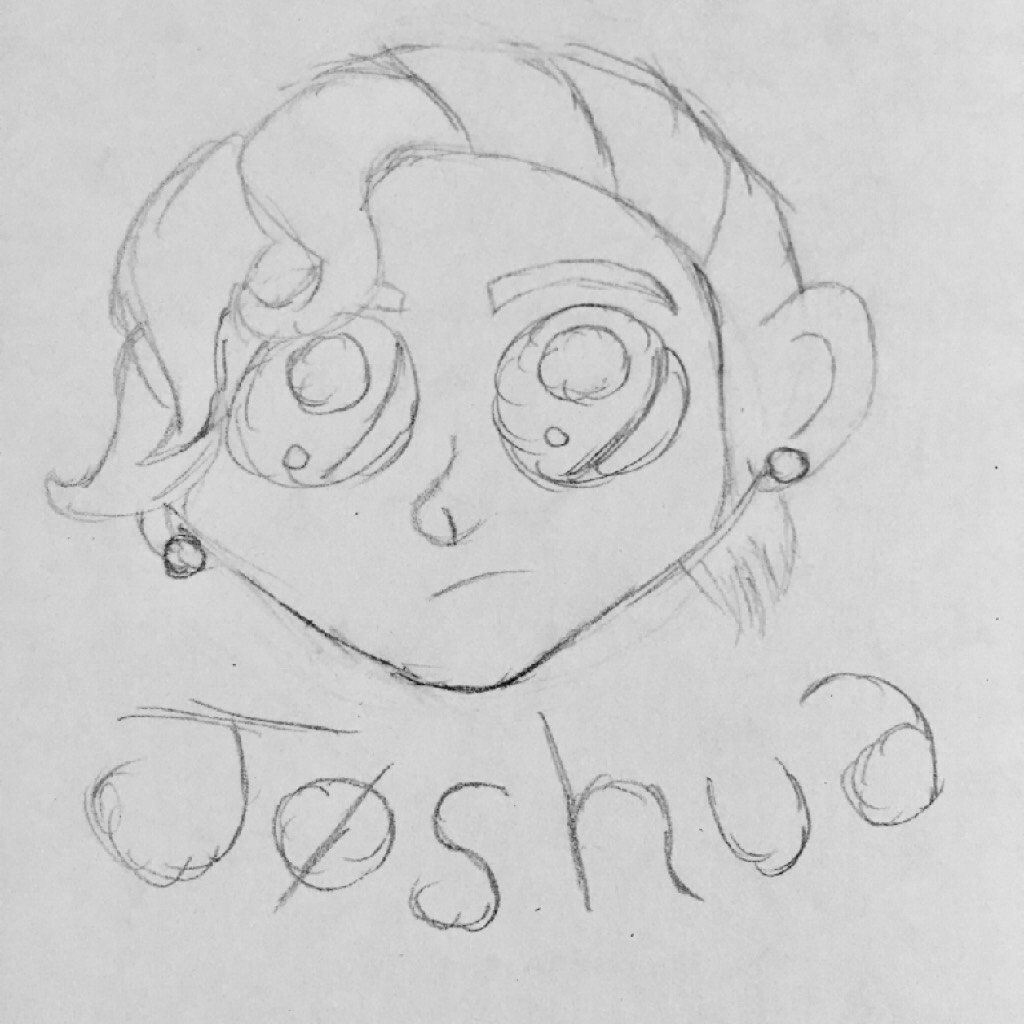 I drew josh based off of a drawing that I'll put in the remixes and I like it a lot but I'm trying to decide it I want to sharpie and color it or not ~Emï