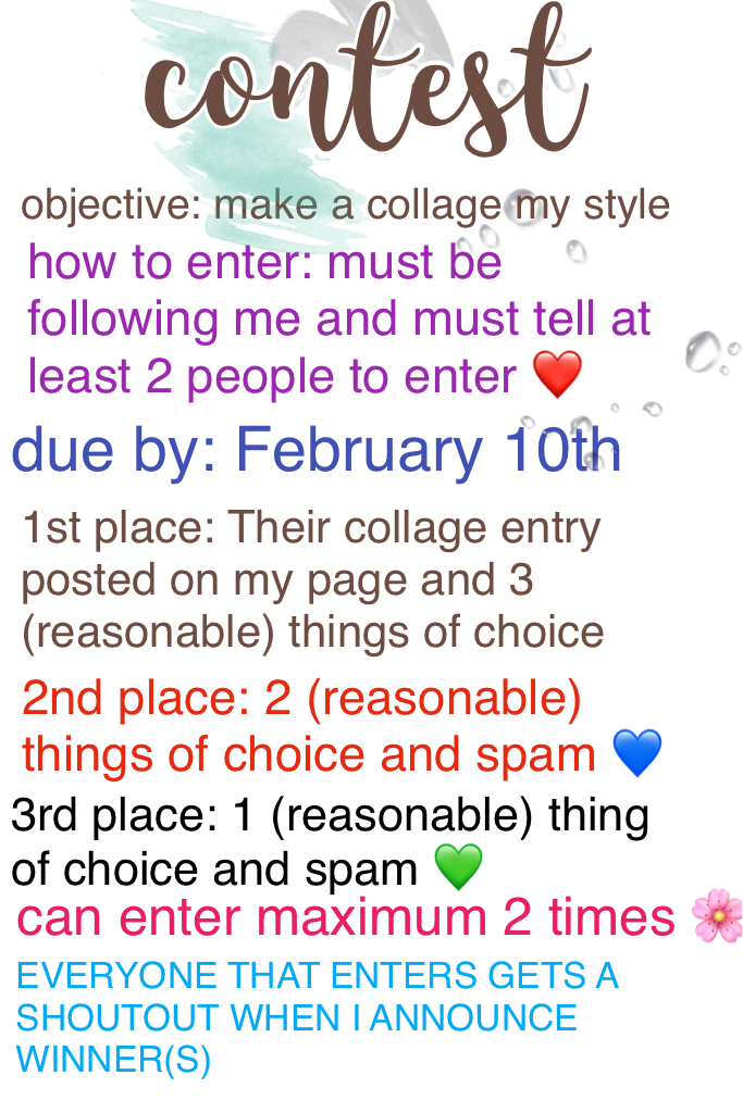 🎆 QUICKLY CLICKY 🎆 GUYS OMG CONTEST FINALLY UP! It would mean so much if you entered  💚 Ask away any questions ❤️ -LatteKitty