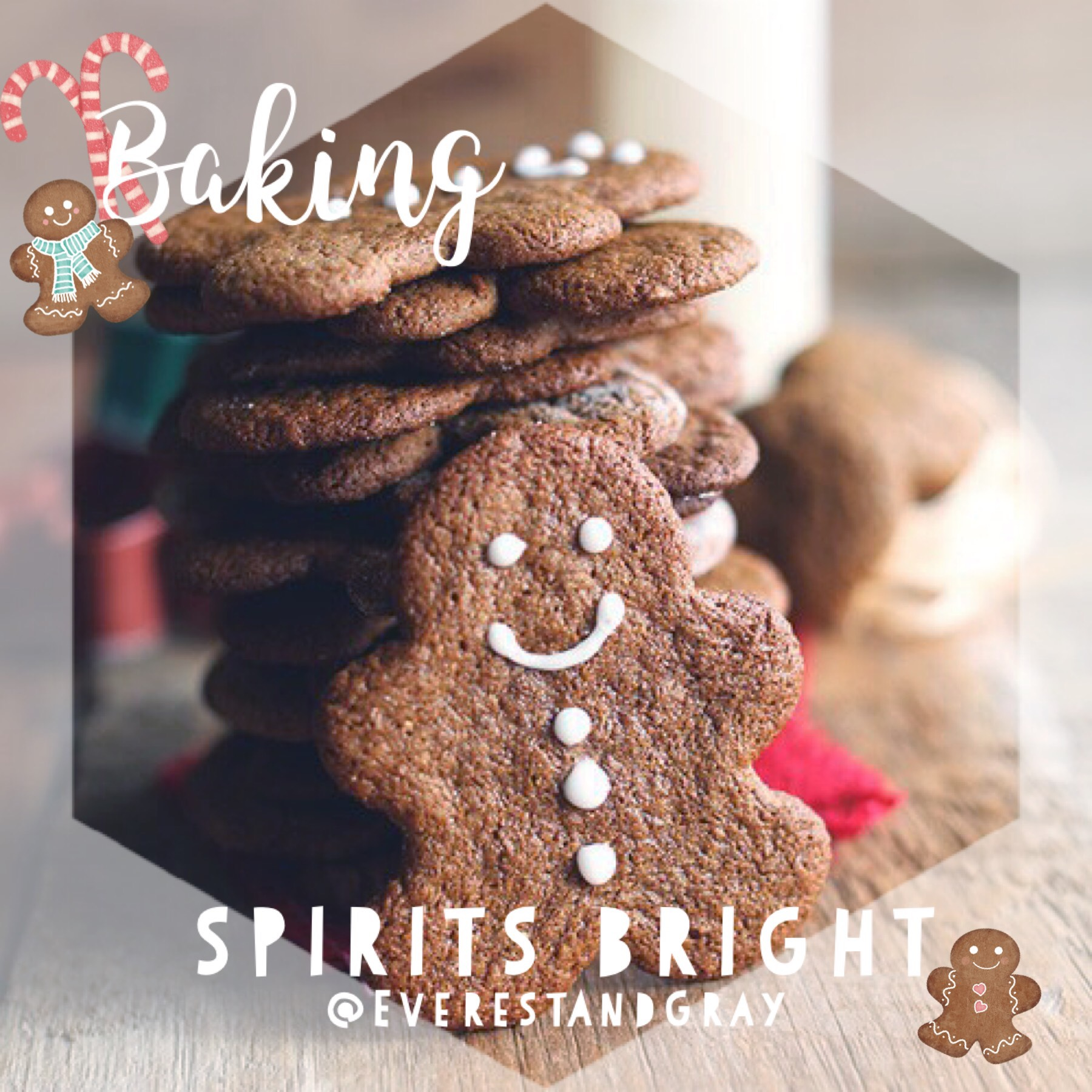 🌲♥️Baking Spirits Bright! What are your favorite Christmas cookies?? I love baking gingerbread + PB Blossoms! 😊 📷: #HollyJollyChristmas stickers   @piccollage @prisillay