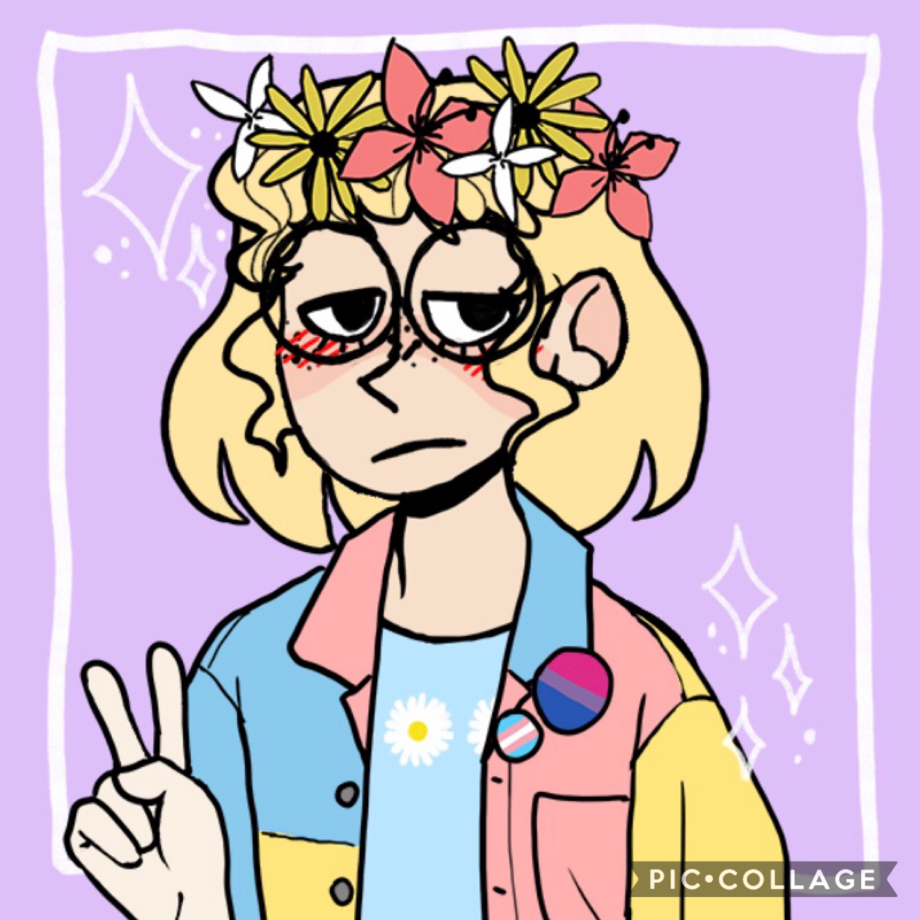 hopping on this new trend hehehsj credit to astratayne link in their bio (i'm not bi or trans but two of my best irl friends are so it's in support of them lol cuz it didn't have any of my flags)