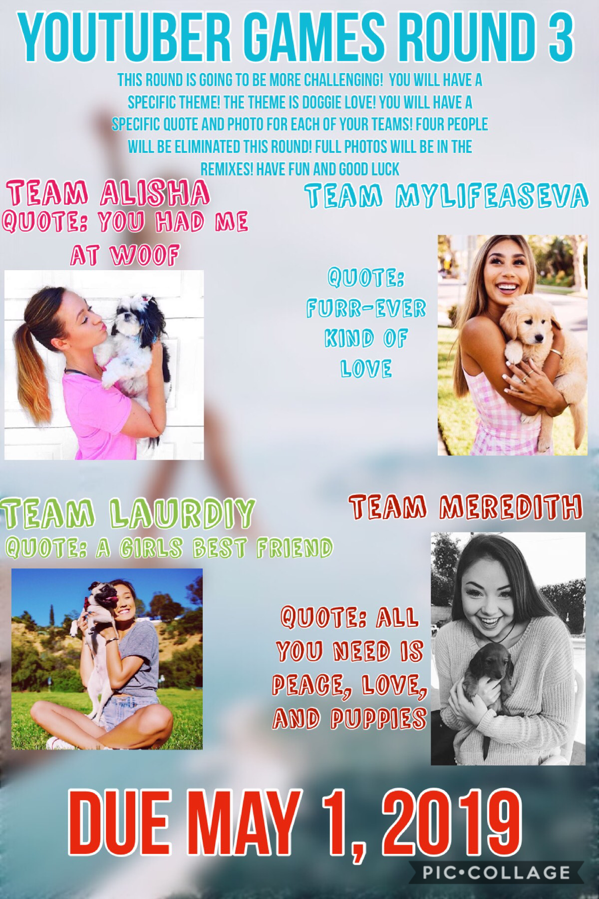 YouTuber Games Round 3! Good Luck! Full photo will be in the remixes! DUE MAY 1!💓🌟