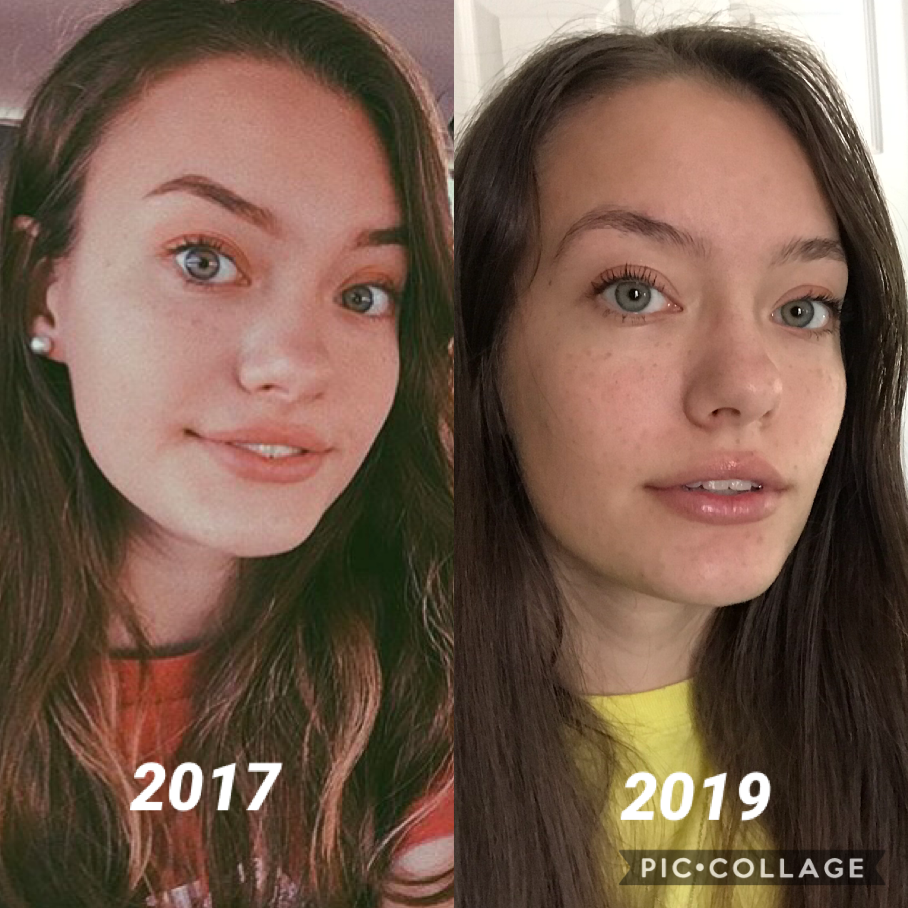tw? has she glowed up 🤭 (minus the fact that i don't fill in my eyebrows anymore lol) also i can't tell if my now pic is bc i've lost weight or gained bone structure 😂 rn i weigh the lightest i've been since freshman year oof. the first pic is from sophom