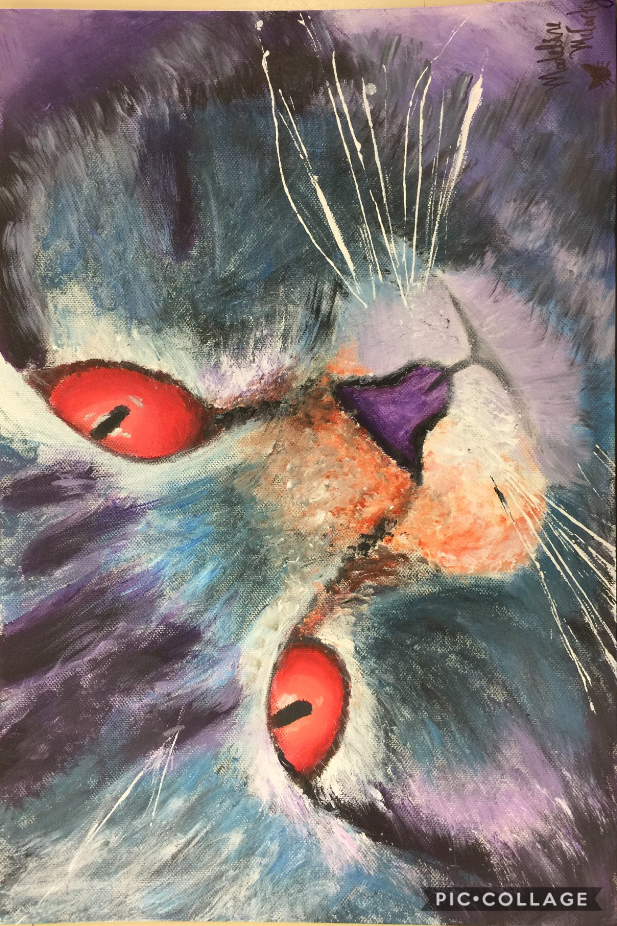 You should tap here if you want information.  Cat painting I did at school. I really enjoyed painting this. And I'm actually proud of it. Hope you like it also. 🐻