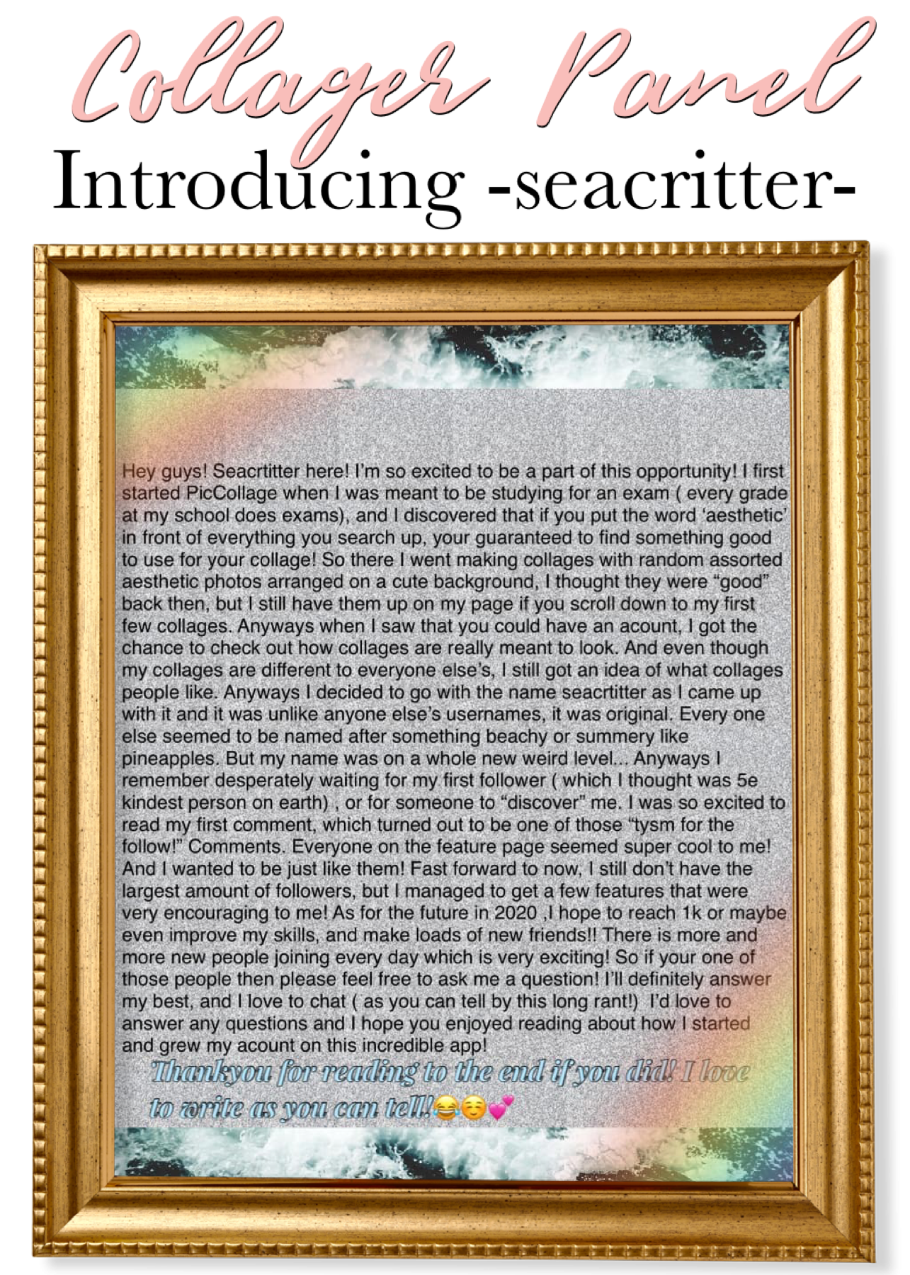 Introducing -seacritter-! Welcome to the Panel!
