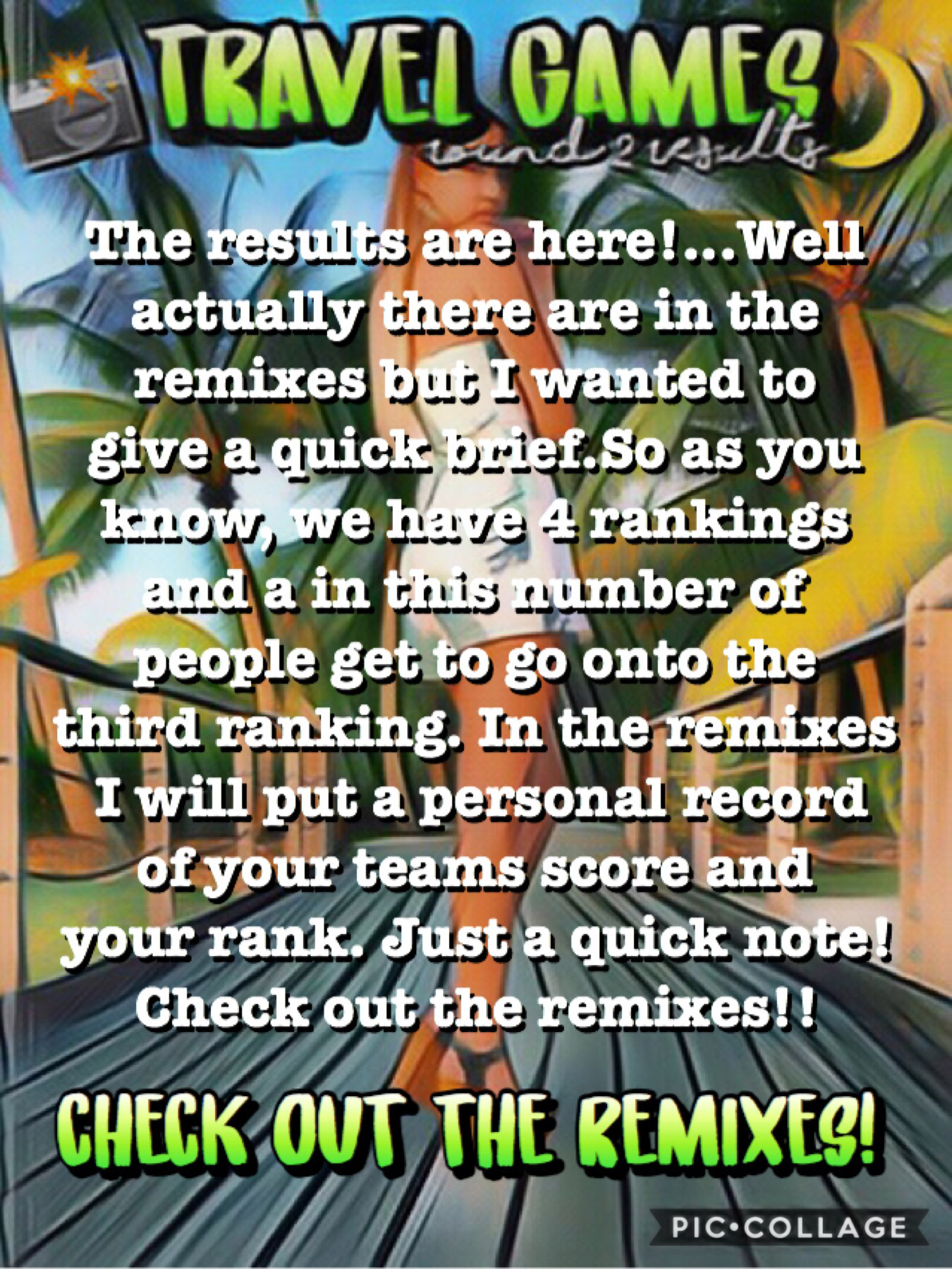 The results are here!🌿🌴check out the remixes for your personal and team results! 28-10-18