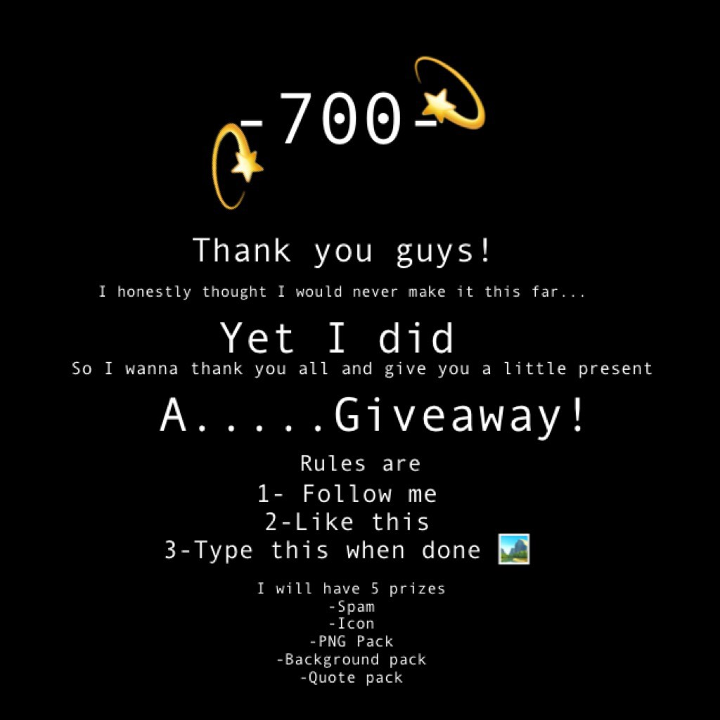 💫Tap this frends💫 OAKSNSNSN 700!????  WORDS CAN NOT EXPRESS HOW HAPPY AND THANKFUL I AM THANK YOU. THIS IS MY FIRST GIVEAWAY SO....THIS MAY NOT WORK 0.0