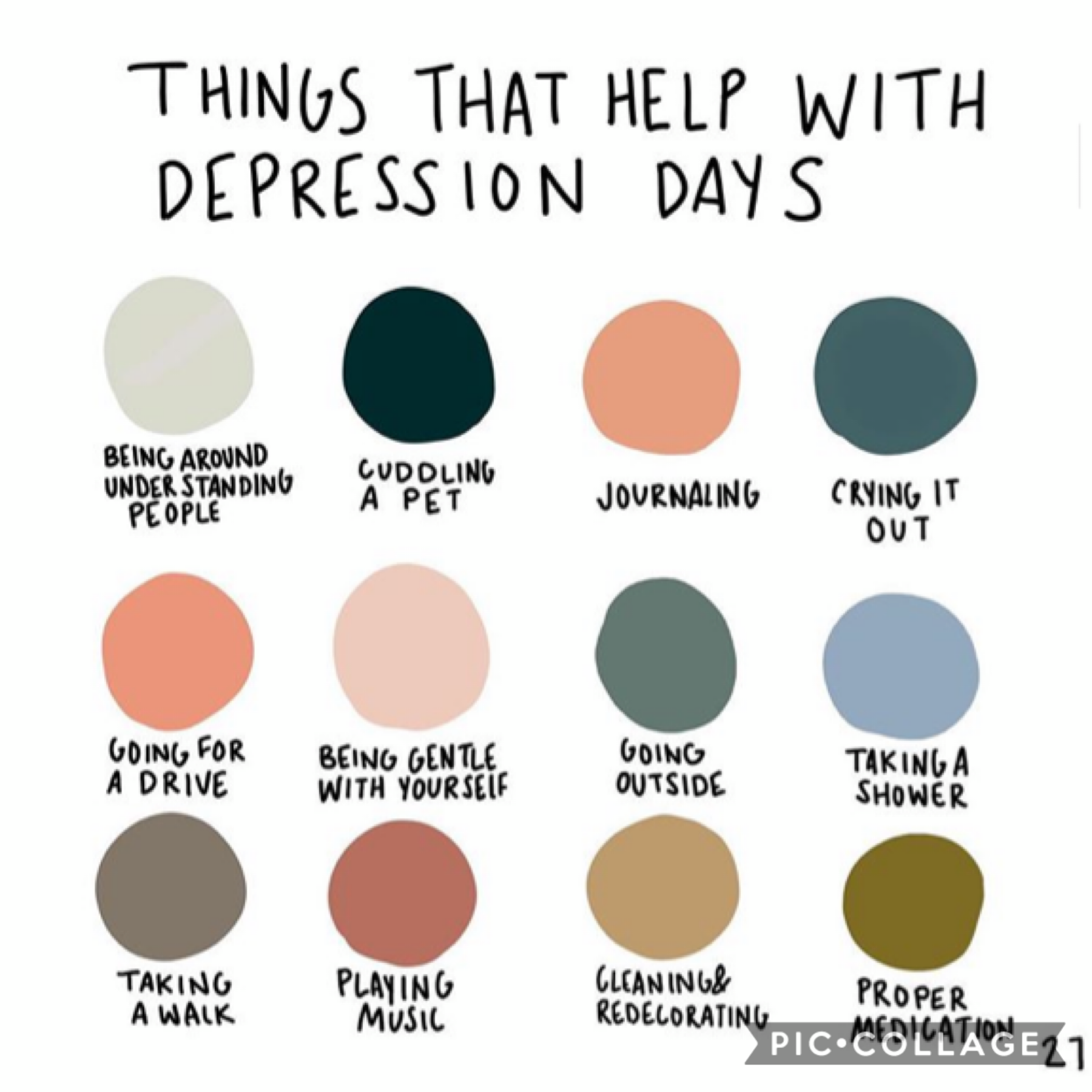 take a mental health day when you can! this something i'm working on, just normal hygiene and self-care. somedays it may be a challenge so take that time to take care of yourself! it's okay to have bad days, just keep going and know that better things are