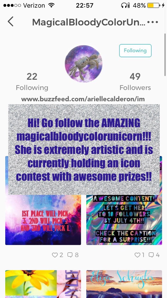 Hi! Go follow the AMAZING magicalbloodycolorunicorn!!! She is extremely artistic and is currently holding an icon contest with awesome prizes!!