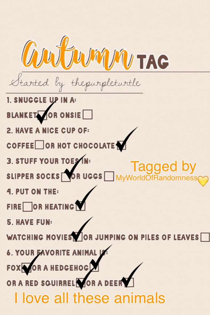 Thank you so much MyWorldOfRandomness for tagging me it was great I tag everyone hope you guys have fun while doing this ❤️