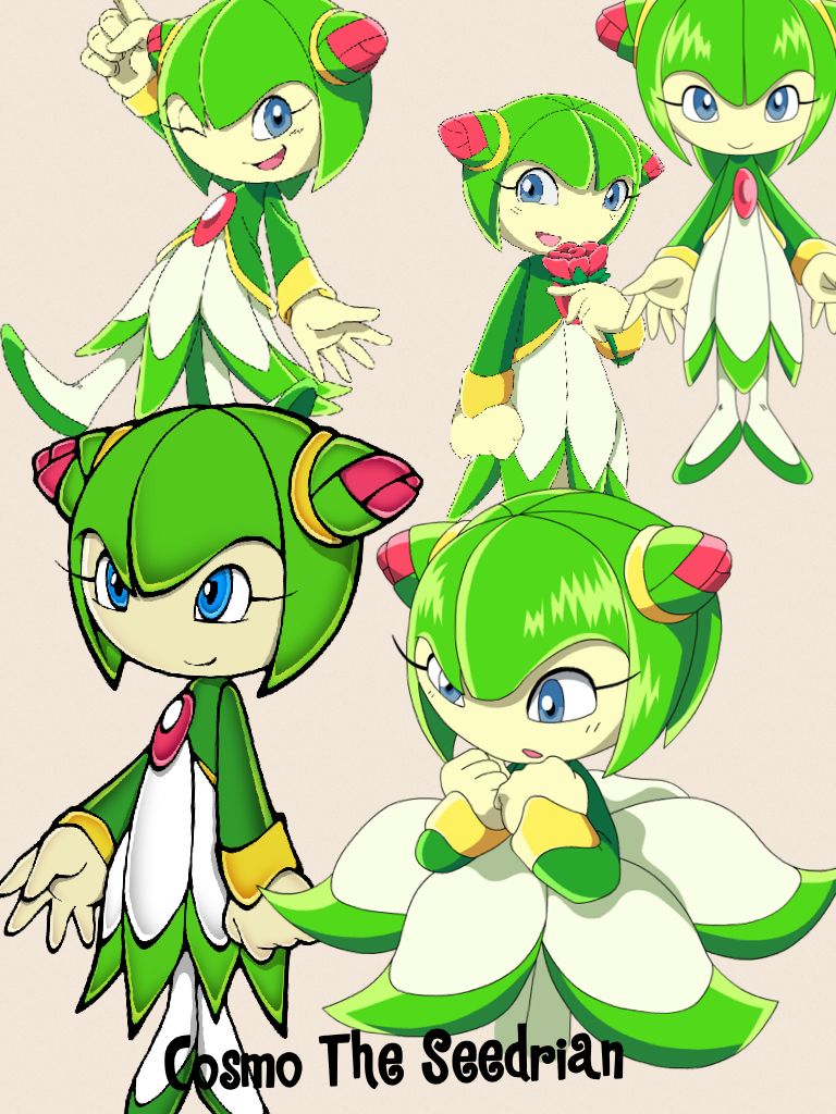 This is Cosmo The Seedrian, who I named my username after😂She's from the show Sonic X, which got me obsessed with Sonic way back in 2014. Okay, I know none of you care so I'll shut my mouth and do my math now😂😂