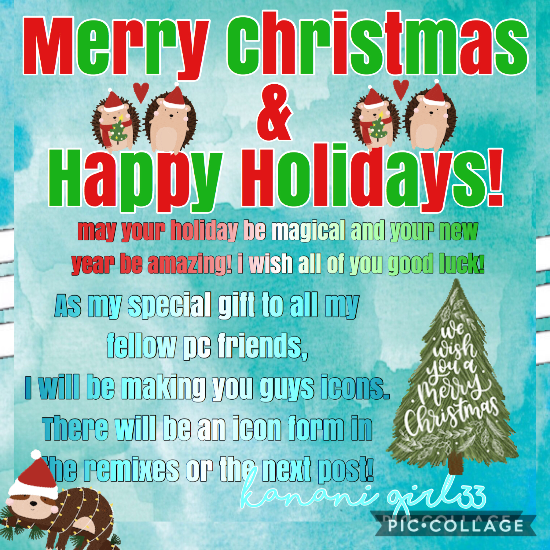 Merry Christmas and Happy Holidays!!! Hope you guys have an amazing rest of the year and blessed new year!! ❄️☃️🎄🎁♥️💕
