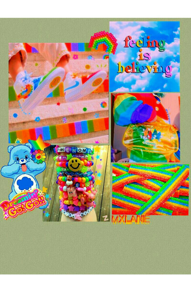 ⭐🌈 rainbow brite 🌈⭐ heyyy my luvs! 💖 im so sorry for not being active lately, i started school a while ago and its a lot. but anyways made this very colorful kidcore collage 4 u! much luv + mxlanie ❤❤❤