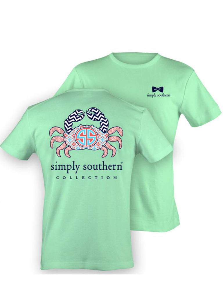 Mint Pattern Crab Simply Southern Tee