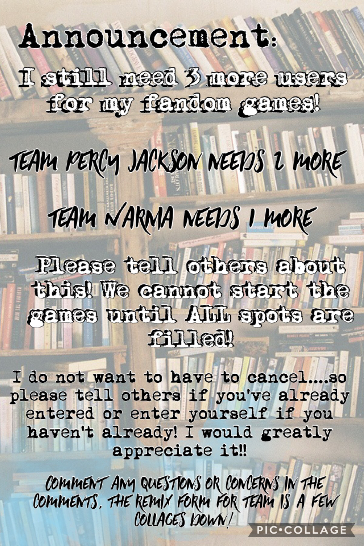 I STILL NEED 3 USERS TO WNTER INTO MY FANDOM GAMES!!  PLEASE TELL YOUR FRIENDS ON PC !💕💕