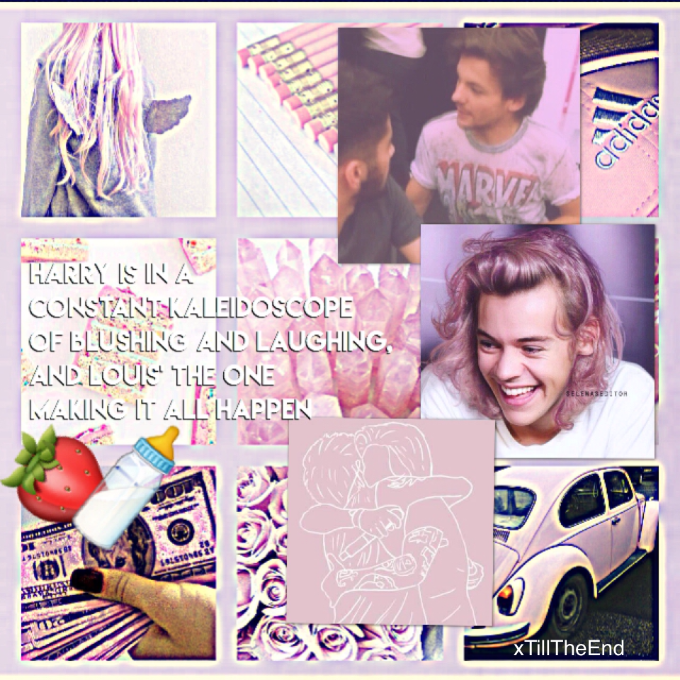 🍓tappp🍼 IF YOU DON'T KNOW THIS IS ABOUT THE STRAWBERRY MILK FANFIC 👏🏻 also harry w/ pink hair yes 😂 i saw a pic of louis with silver hair and oh my god does it look good on him