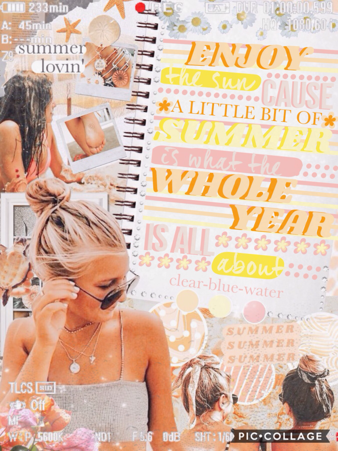 🏖T A P🏖 Another warm toned collage. This is inspired by my Pinterest @xxsarahelisexx so follow me for more like this. QOTD: What time do you usually wake up? AOTD: 6:30 on school days and 9:00-9:30 on weekends