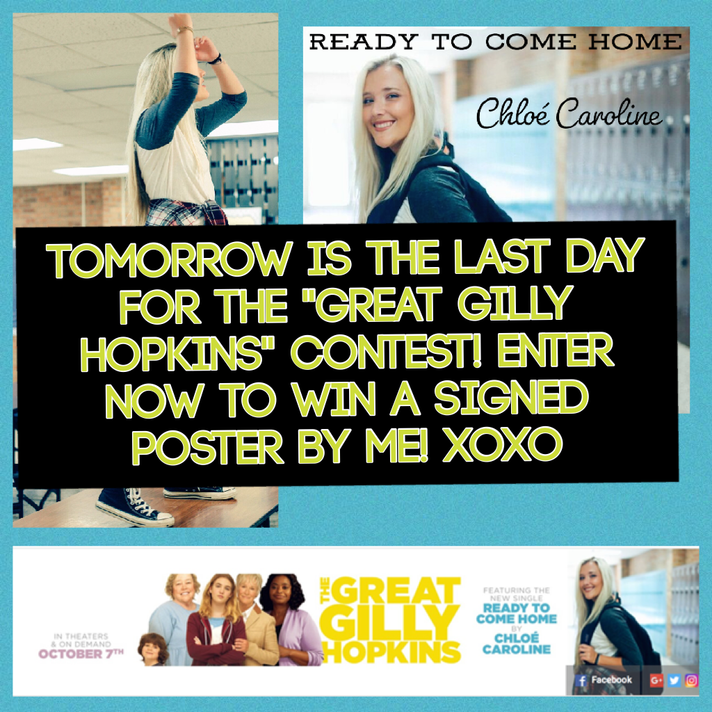 "Tomorrow is the LAST day for the ""Great Gilly Hopkins"" contest! Enter now to win a signed poster by me! Xoxo"