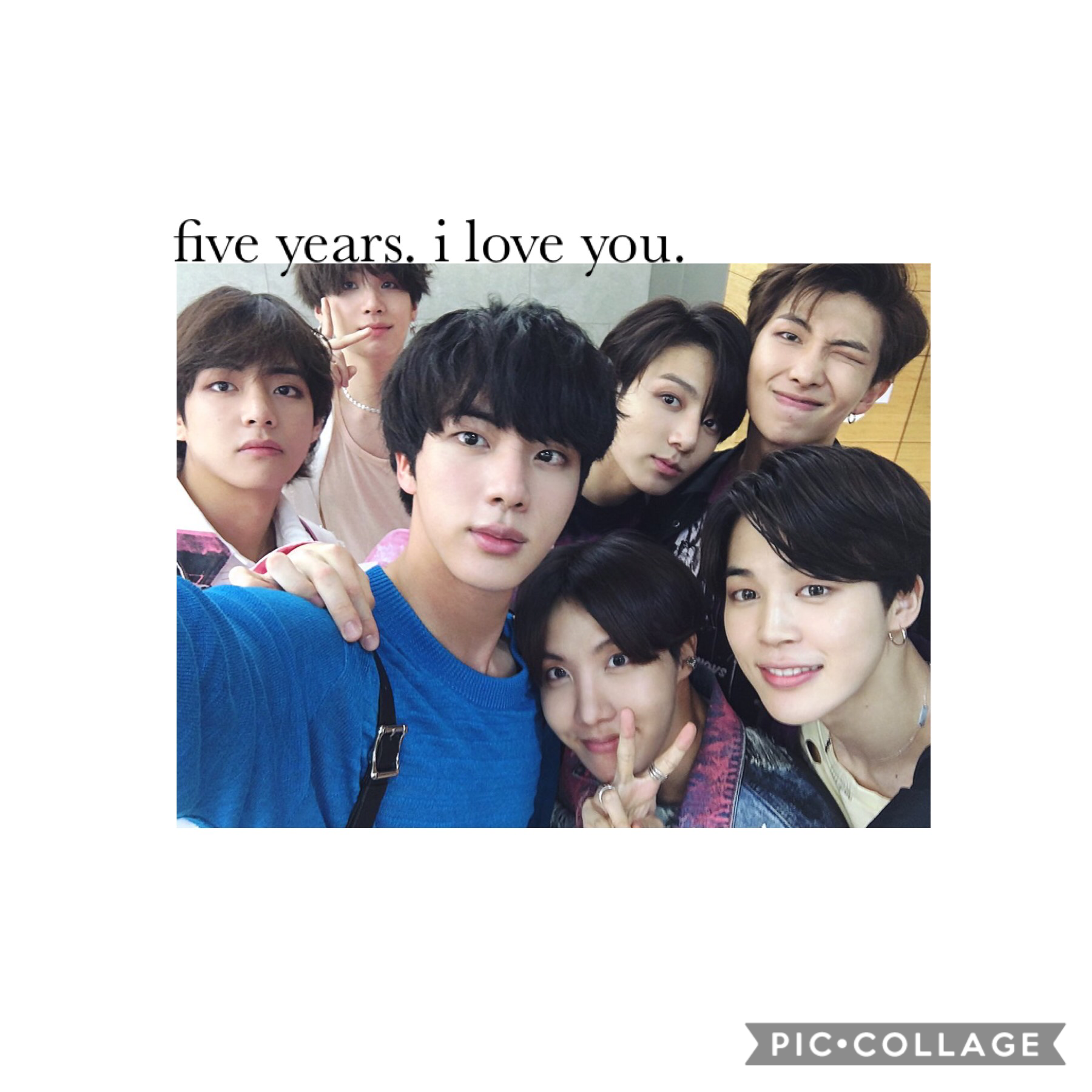 heyheyhey tap!  it's bts' fifth anniversary. i'm not going to write a whole lot bc i already poured everything out on my ig account lol but okay. i love bts so much, they've honestly brought so much happiness and positivity into my life and i can never ev