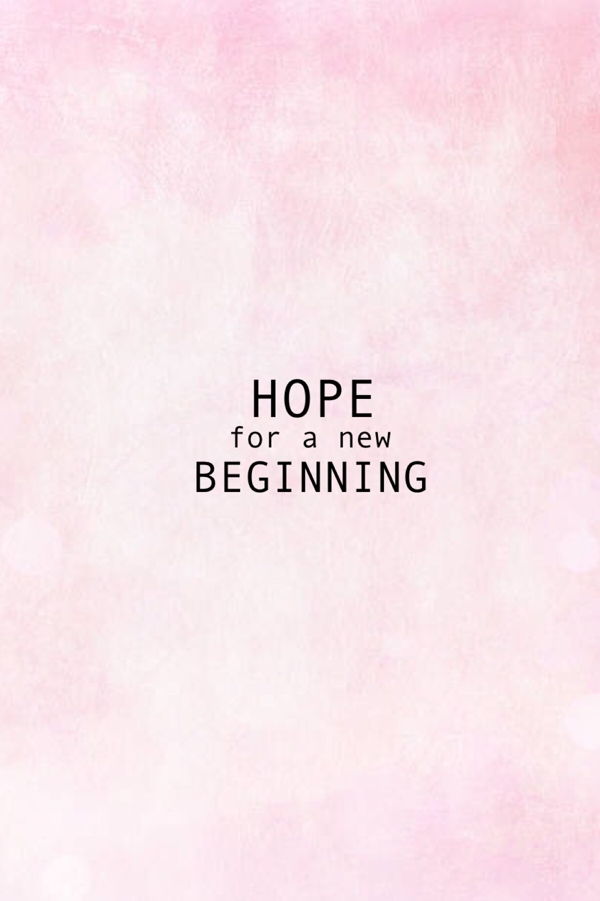 hope for a new beginning