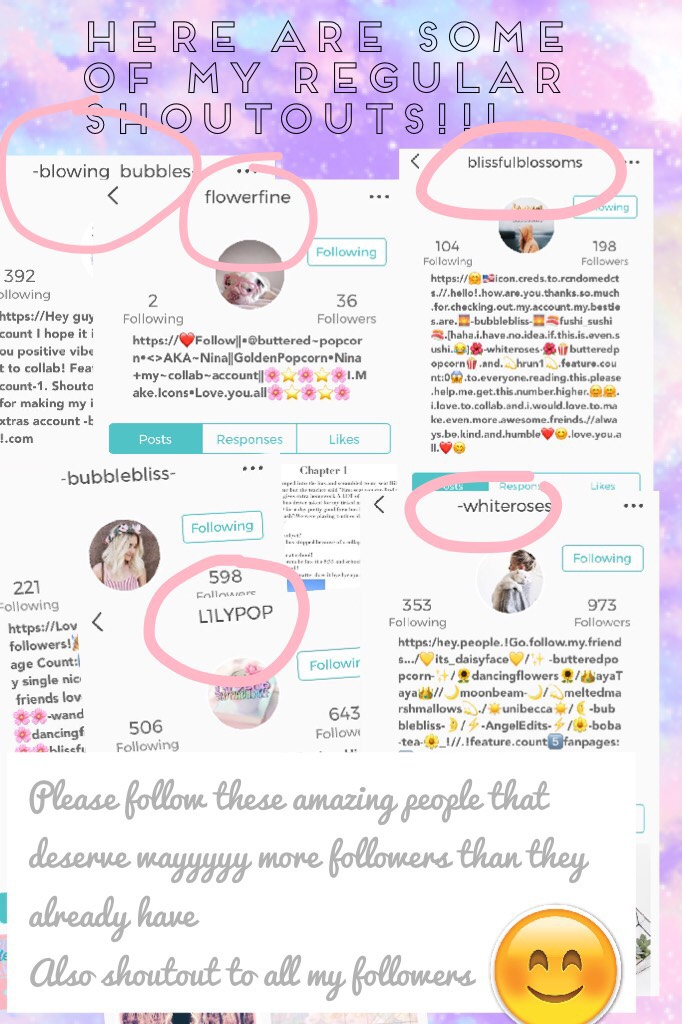 Tap💖😂 Here are some of my regular Shoutouts!!!😂😂😂 GO FOLLOW THESE AMAAAAZING PEOPLE! 😂They deserve so many followers! And u will literally regret it if u don't... trust me!😑😝And if u want to be in my next list of shoutouts, press the     follow button❤️an