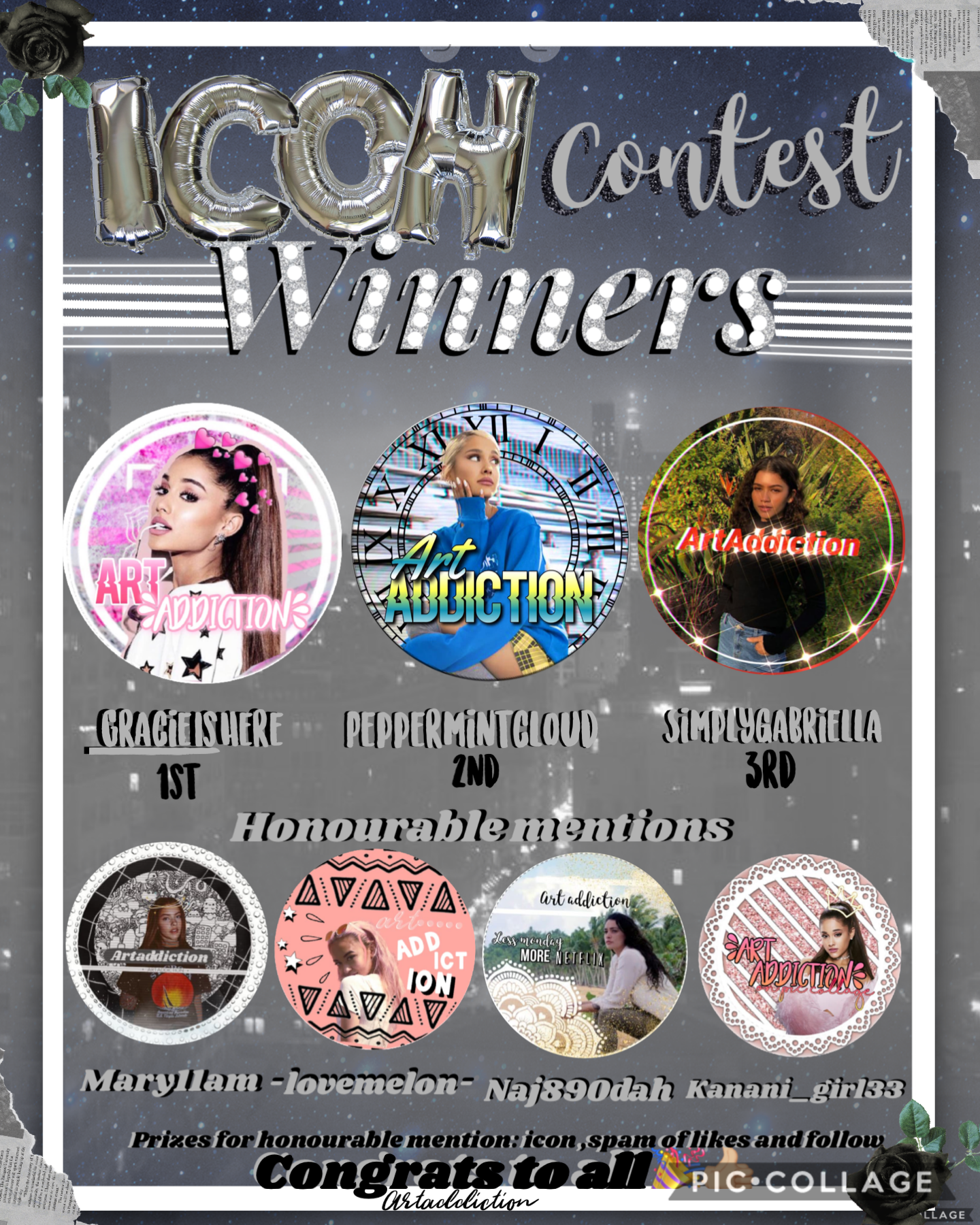 Congrats to all amazing talented collagers , prizes given soon and prizes in remix of icon contest 😘❤️👍🏼🎉