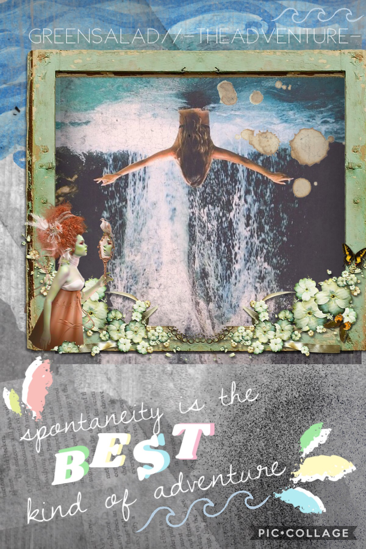 Collab with... -TheAdventure-!!!! She's very kind and her collages are very unique. Her style is quite interesting. You should go follow her.