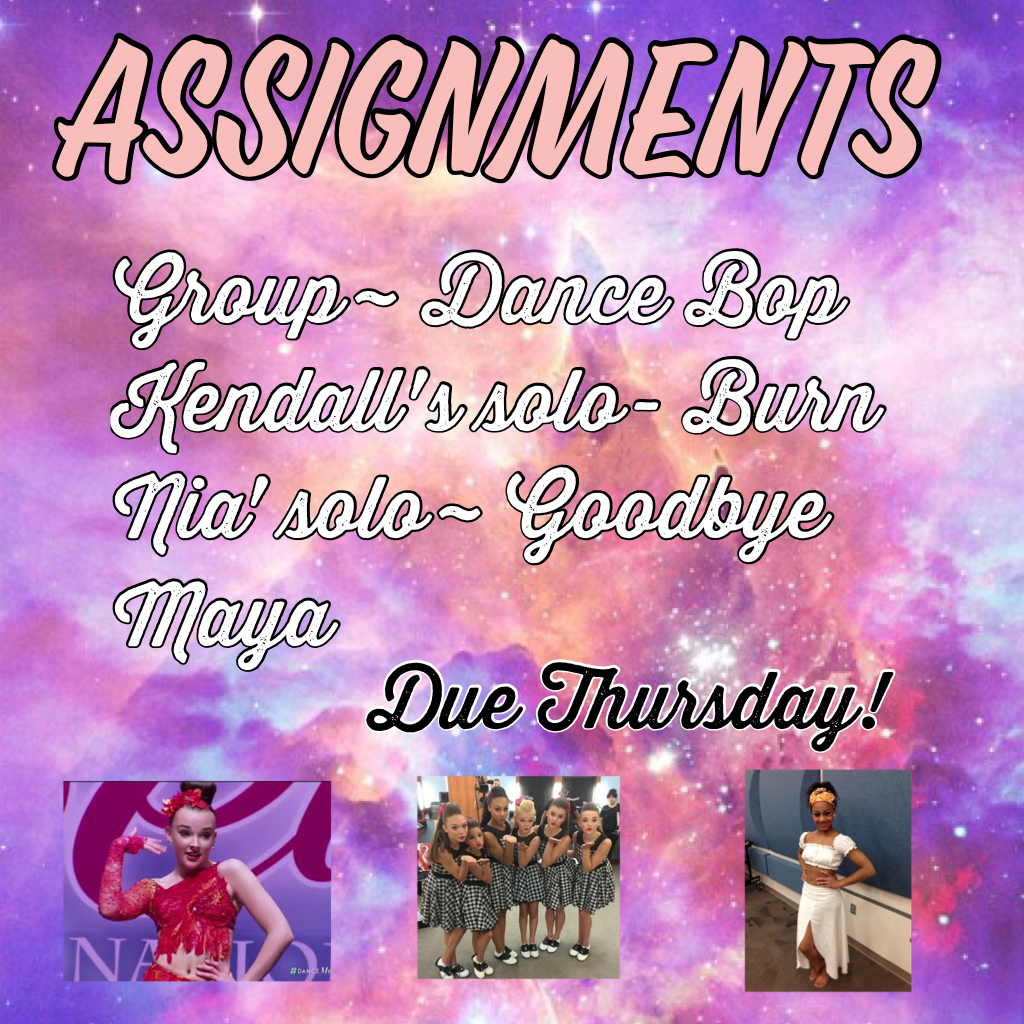 {Click for more info}   Week 1 Assignments! Make an edit of the group number. Nia and Kendall also make an edit of your solos!💞 Due this Thursday 19th January. Good Luck!🌟❤️