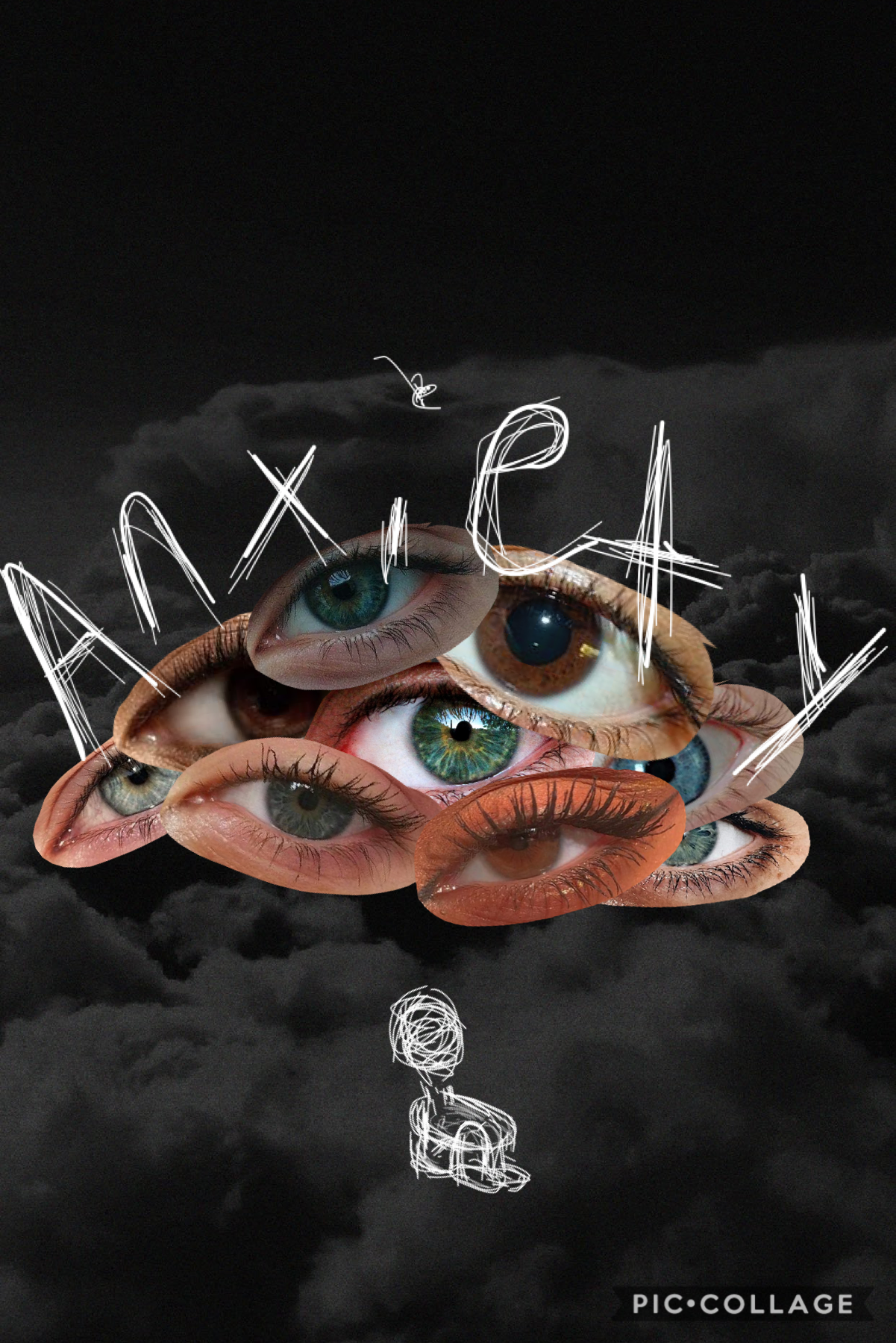 ~1/28/2021~ tap✨ This collage is about how it can feel like everyone is watching u when u have anxiety. I hope you enjoy the collage!