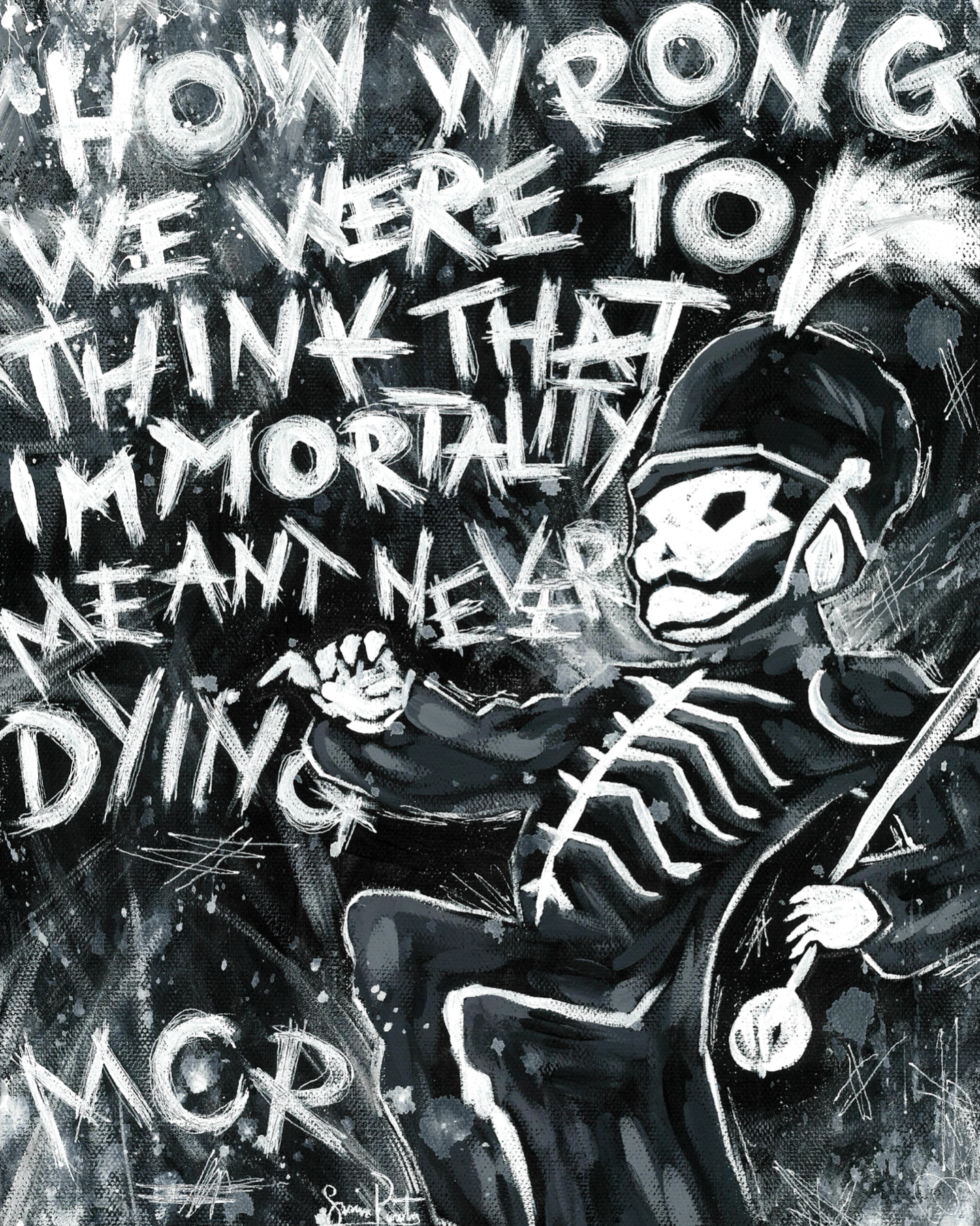 here's a painting i made bc pc decided to delete all of my collages for no reason🤩 the quote isn't even from black parade but wtv it's one of my favorite mcr lines so i used it anyway👍 comments!