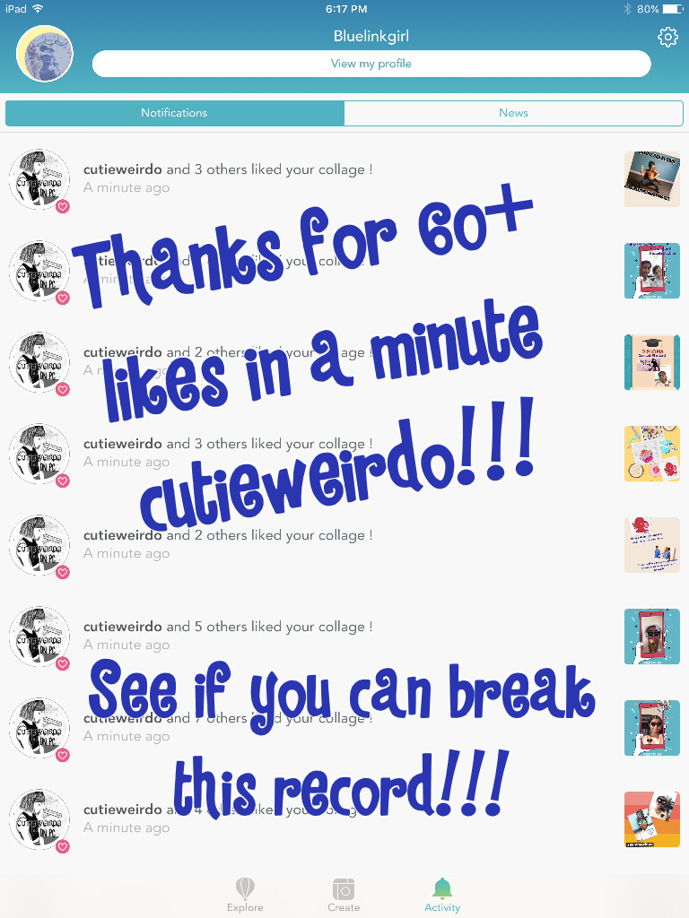 Thanks for 60+ likes in a minute cutieweirdo!!!